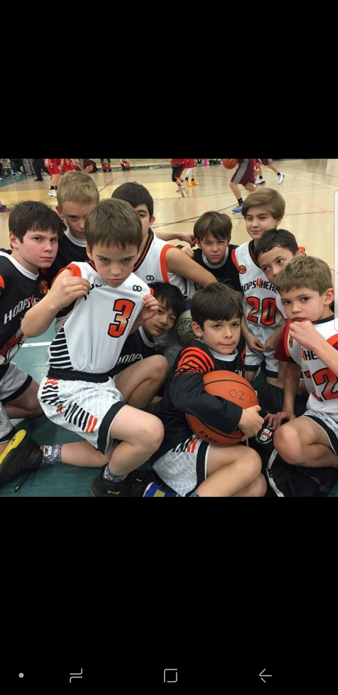 Youth HOOPS 4 HEAL Black White Red basketball uniforms, jerseys, and shorts