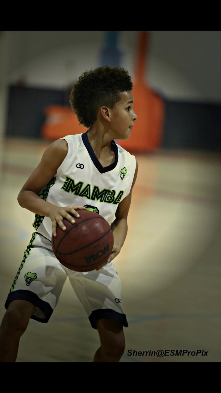 Youth MAMBA White Green Black basketball uniforms, jerseys, and shorts