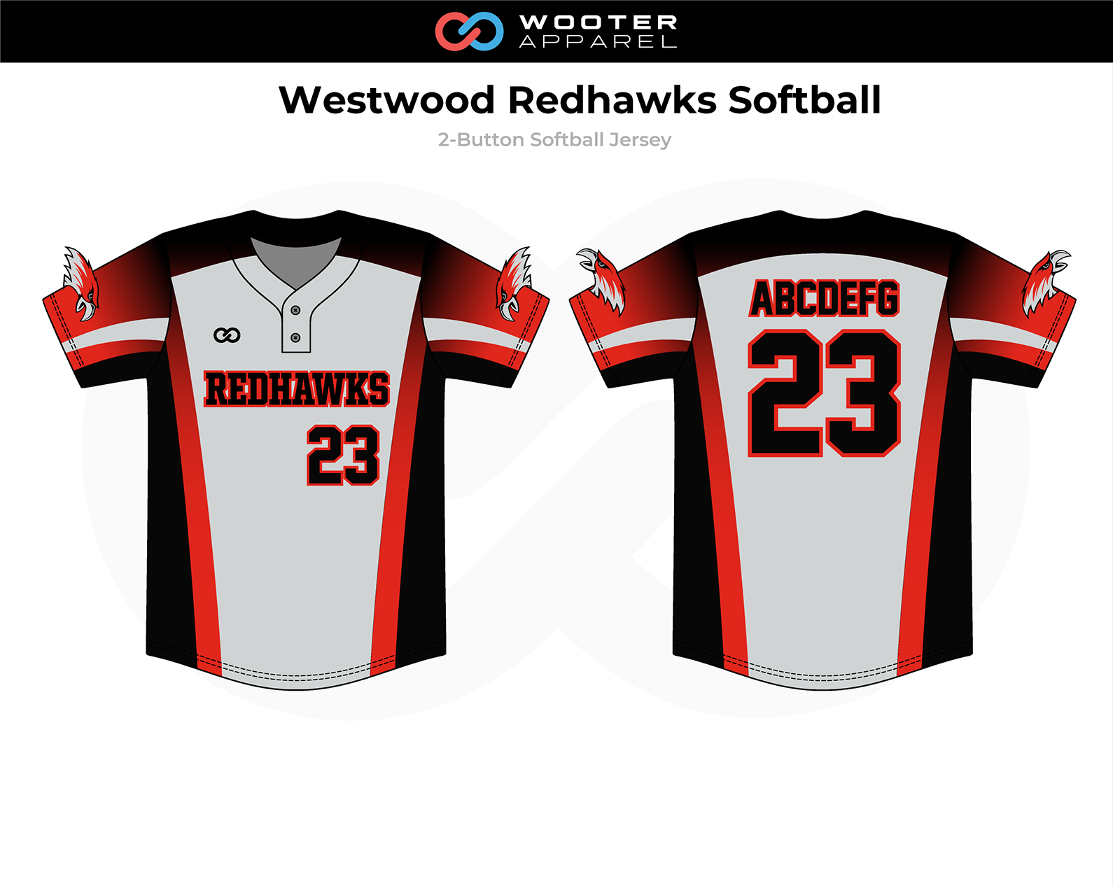 2018-11-13 Westwood Redhawks Softball 2-Button Jersey (Modern).png