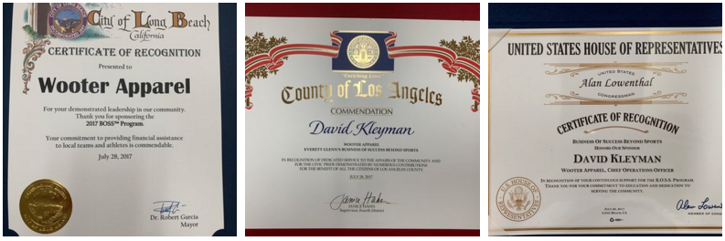 Awards from the City of Long Beach, the County of Los Angeles, and the U.S. House of Representatives were presented to Wooter Apparel recognizing their contributions to youth athletics and the BOSS Program.