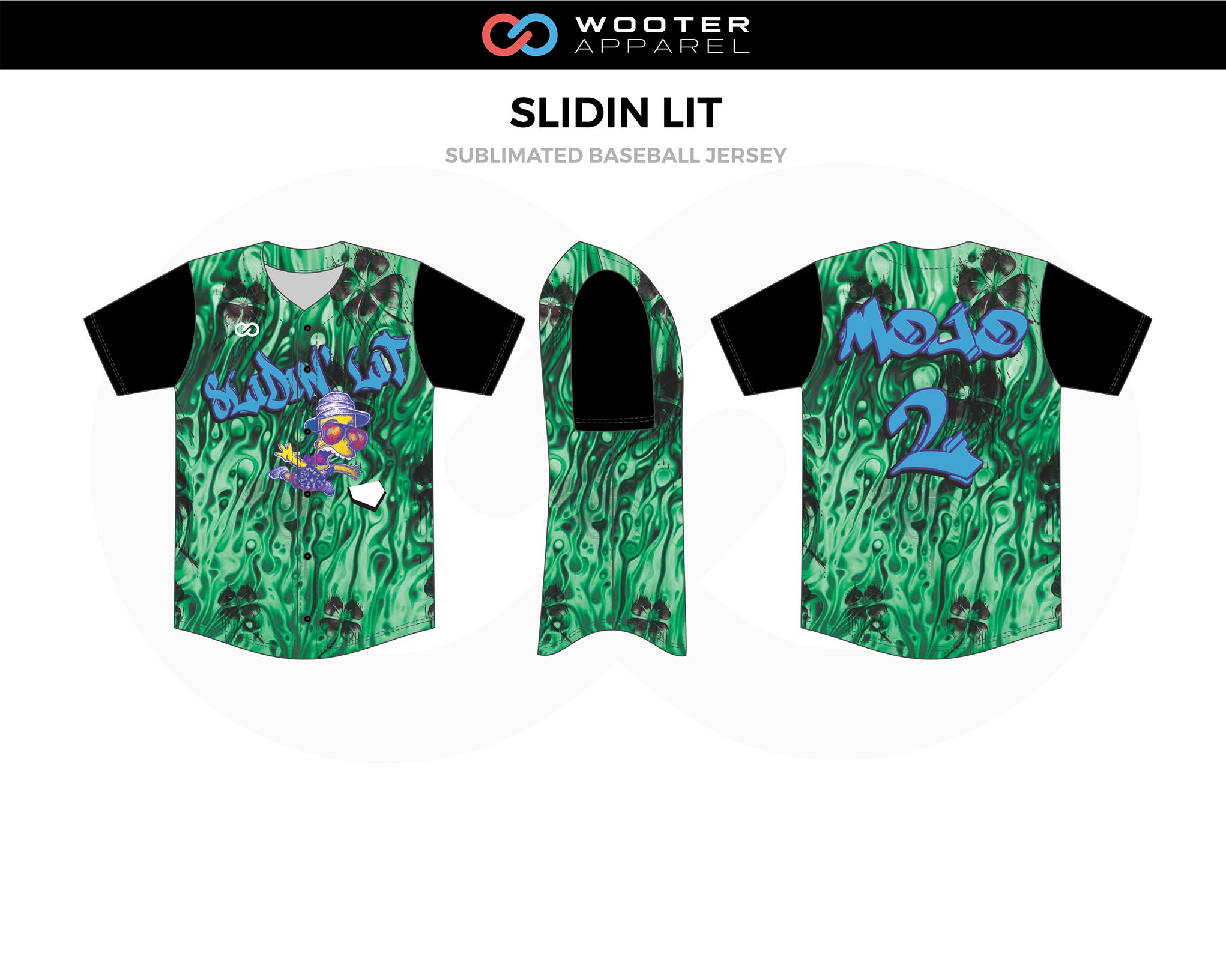 SLIDIN LIT Green Black Blue Sublimated Baseball Jersey Shirt