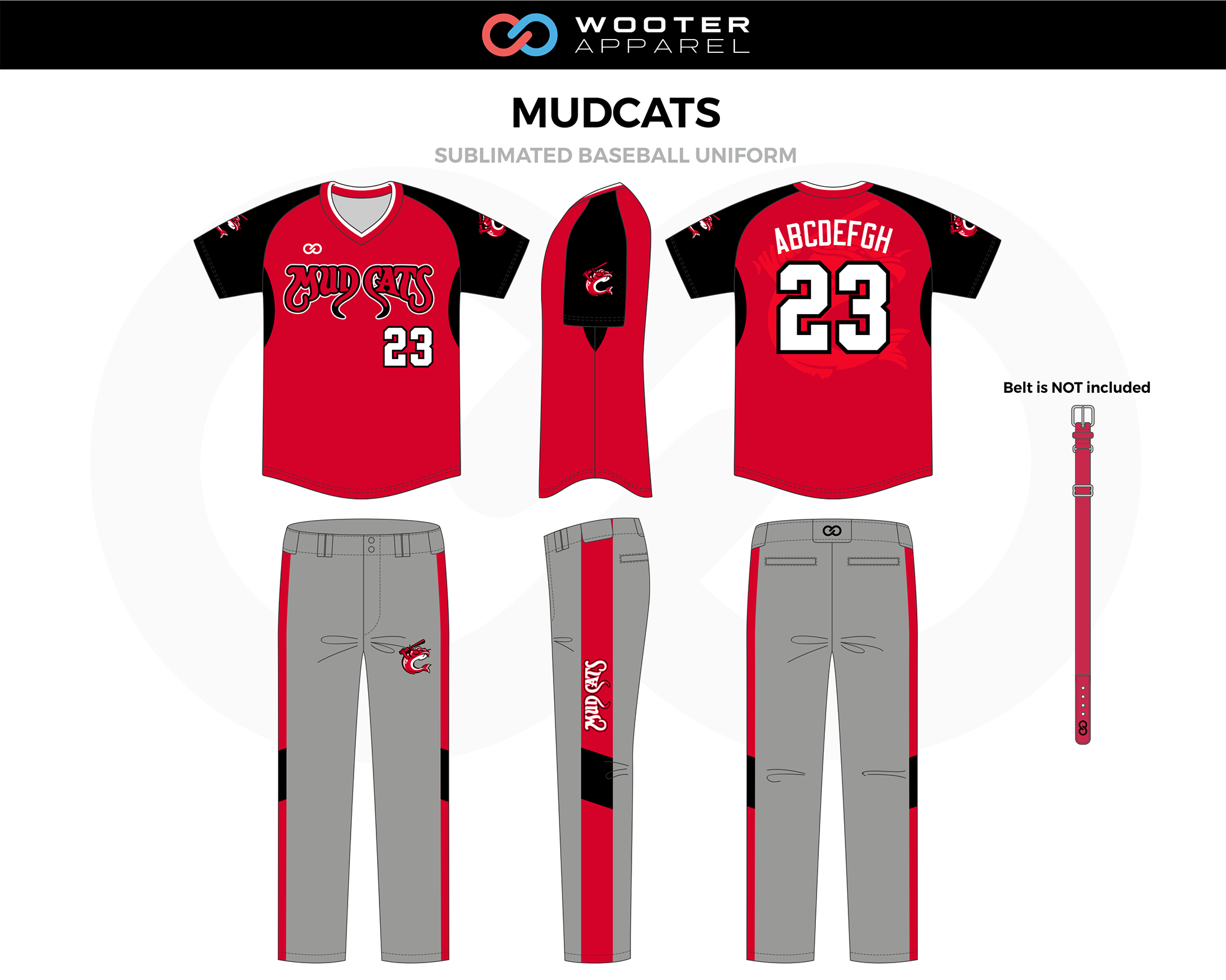 MUDCATS Red Gray White Black Sublimated Baseball Uniform, Jersey and Pants