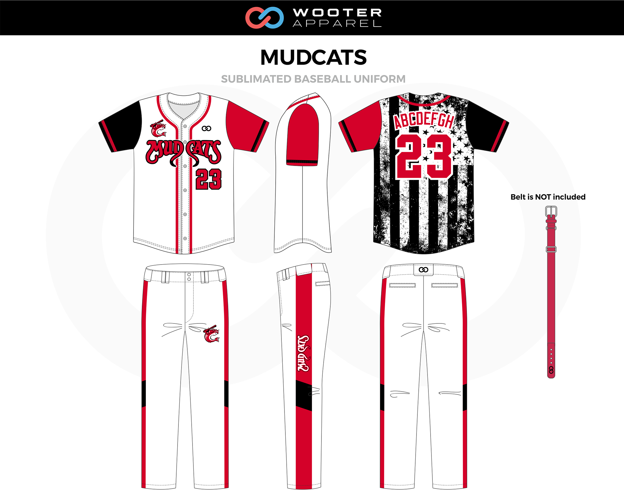 MUDCATS Red Black White Sublimated Baseball Uniform, Jersey and Pants