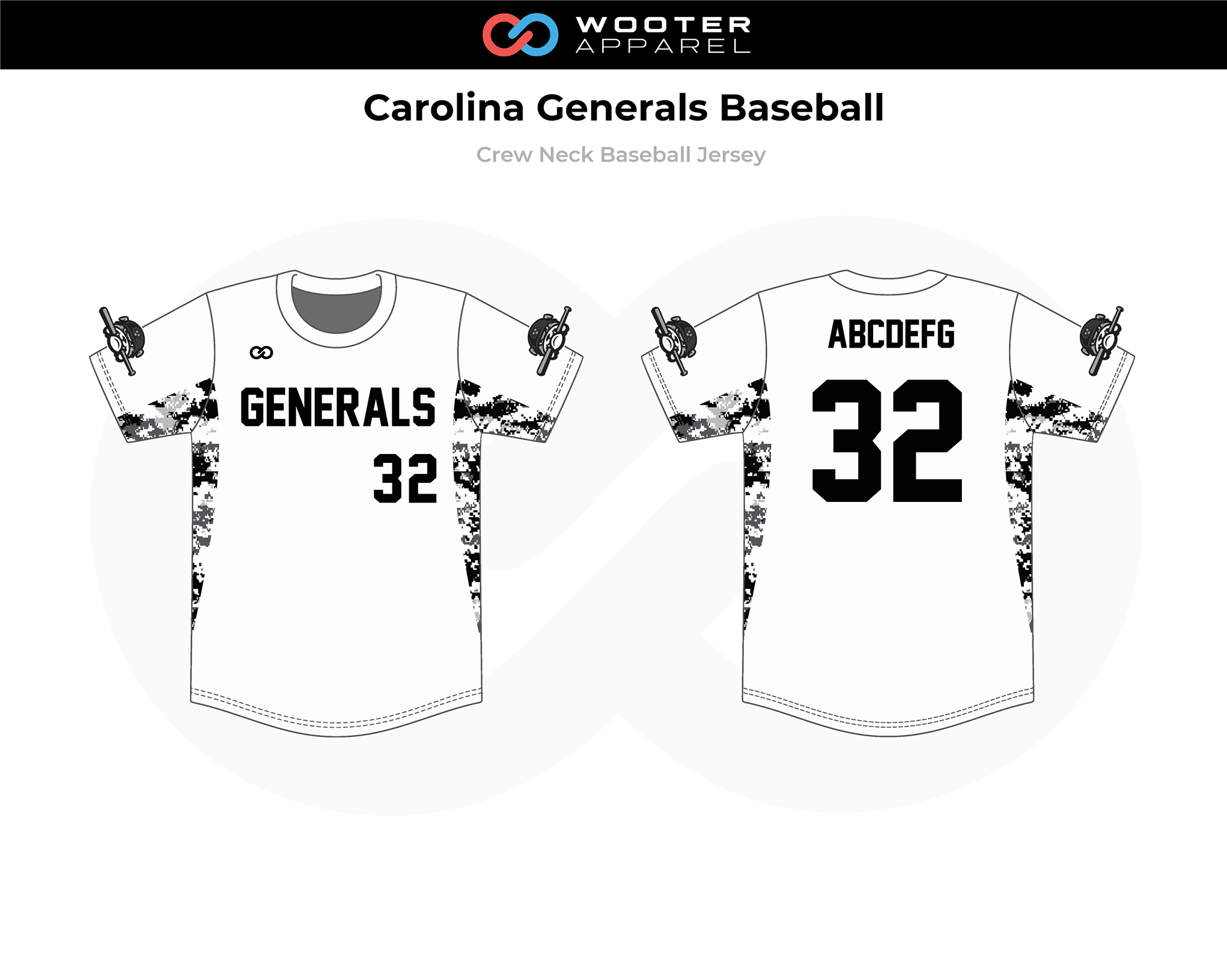CAROLINA GENERALS Black White Gray Crew Neck Baseball Jersey