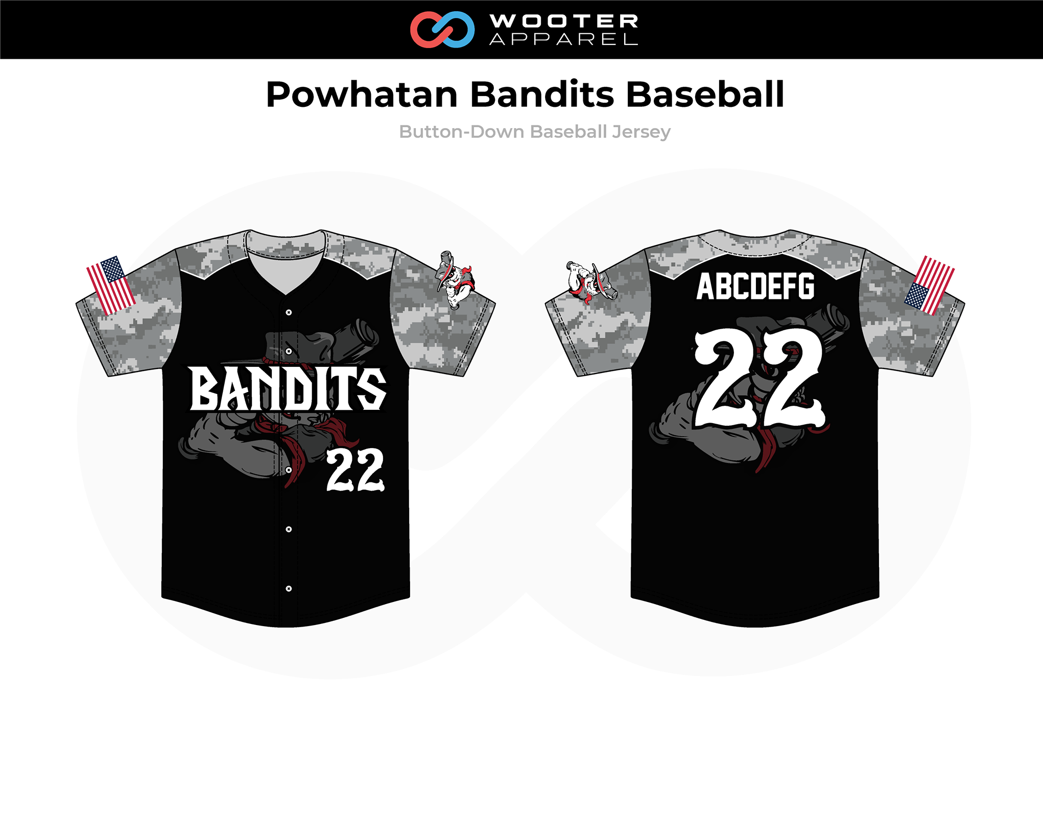 2018-12-04 Powhatan Bandits Baseball  Button-Down Jersey (Black).png