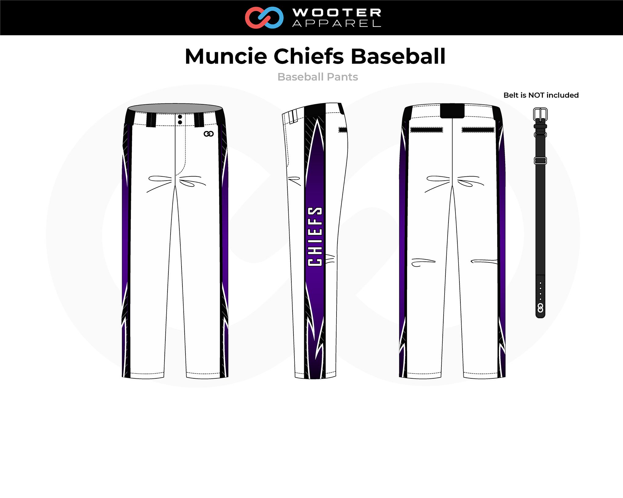 MUNCIE CHIEFS Lavender Black White Baseball Pants