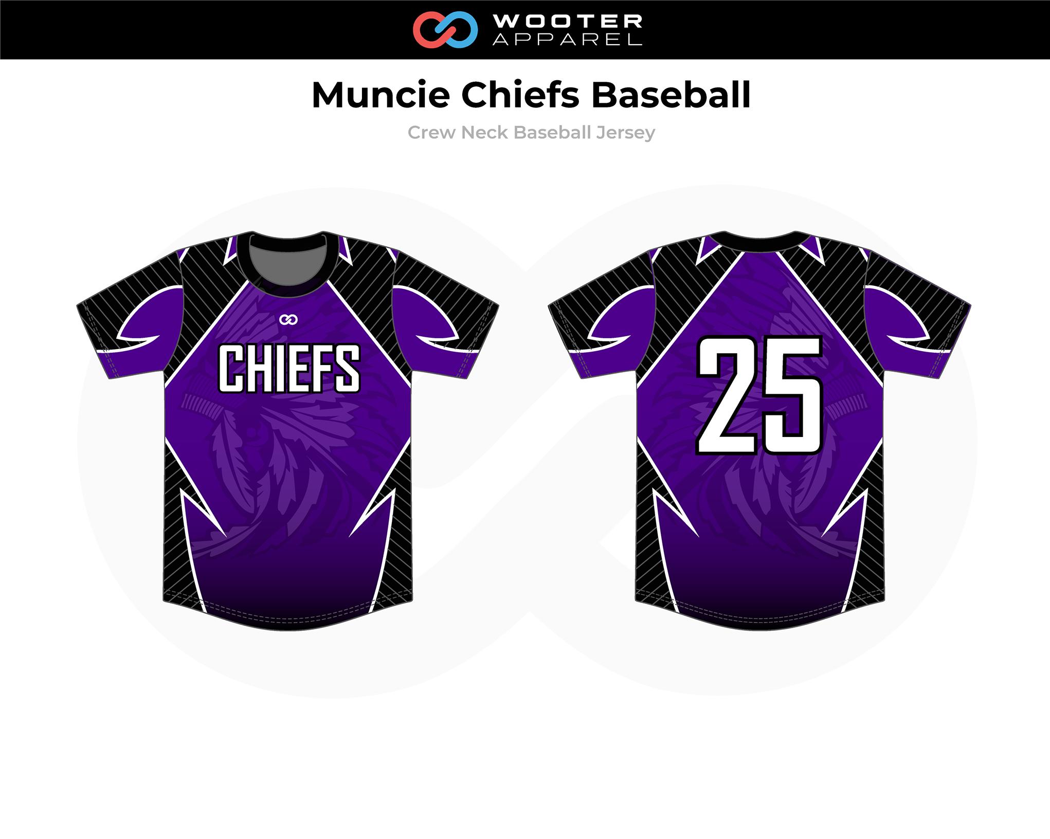 MUNCIE CHIEFS Lavender Black White Crew Neck Baseball Jersey