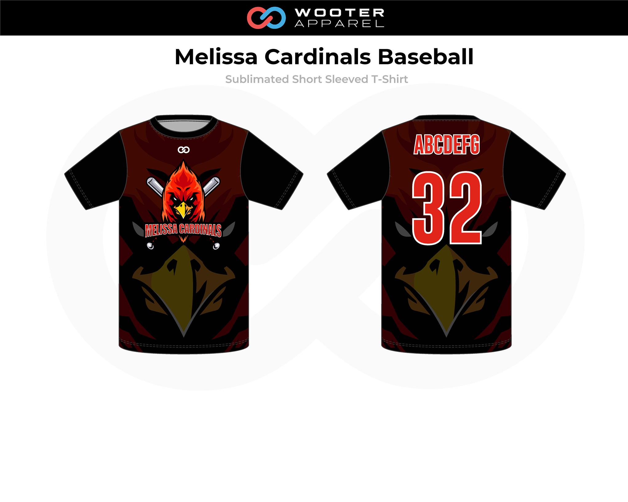 MELISSA CARDINALS Red Brown Black Yellow Sublimated Short Sleeved Baseball T-Shirt