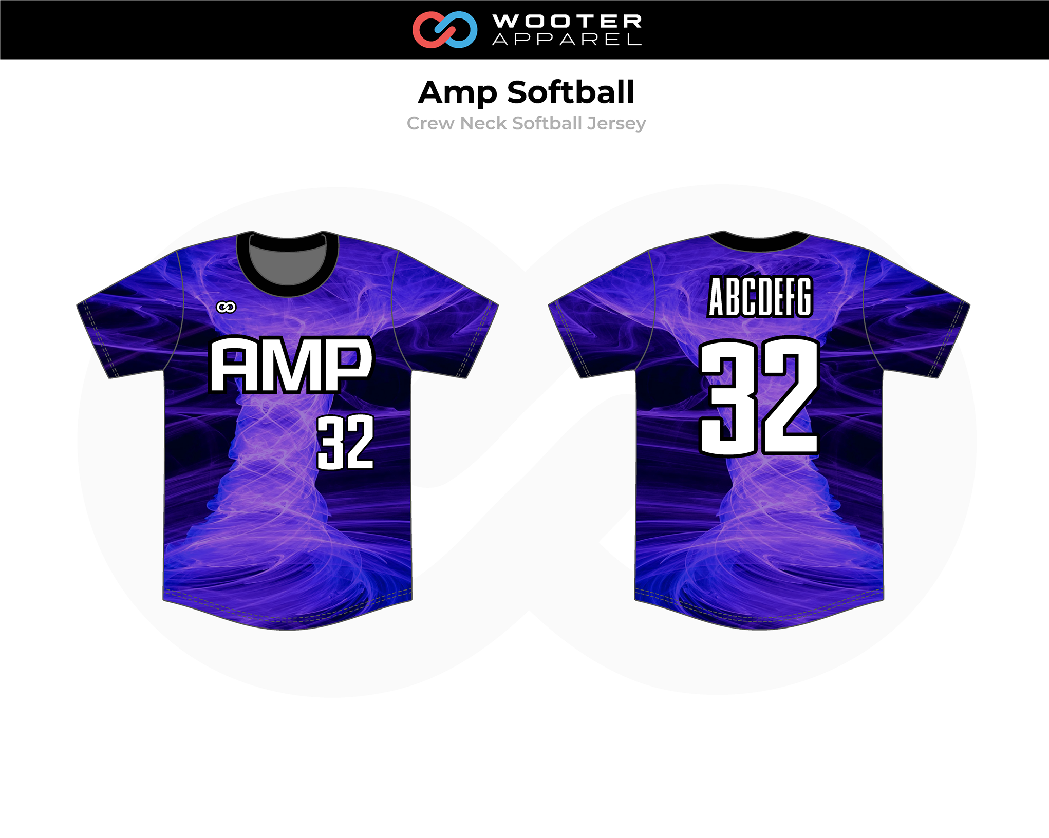 AMP Blue Black White Crew Neck Softball Jersey
