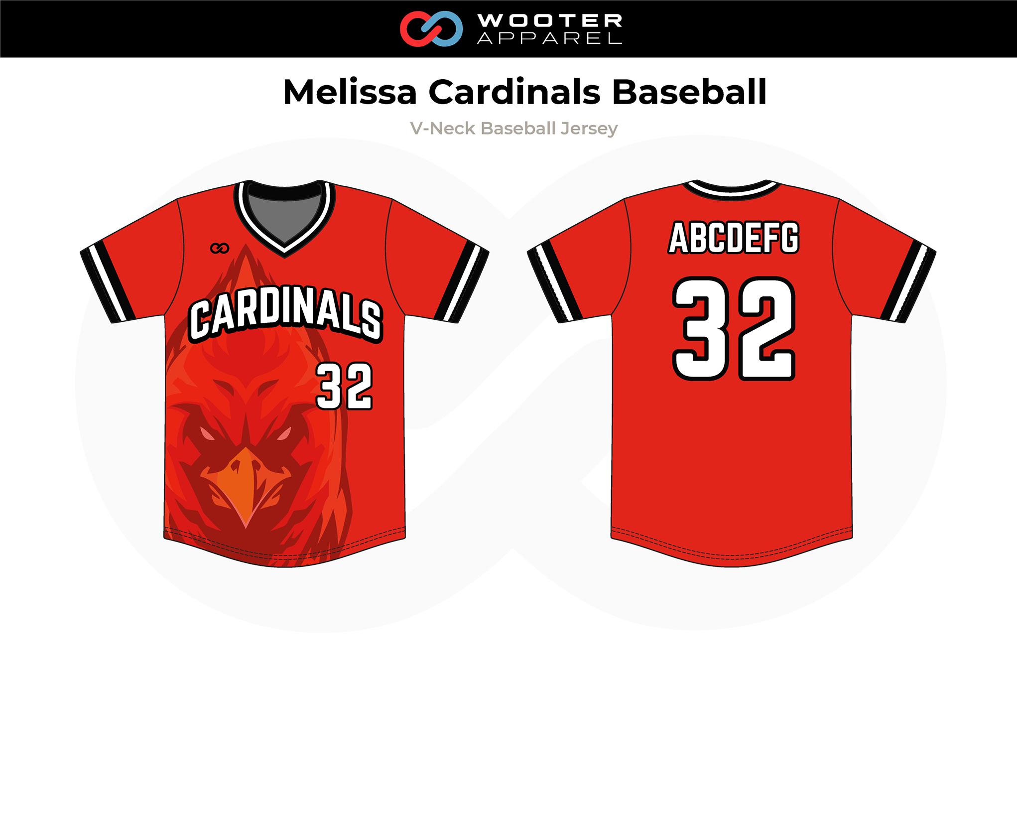 MELISSA CARDINALS Red White Black V-Neck Baseball Jersey