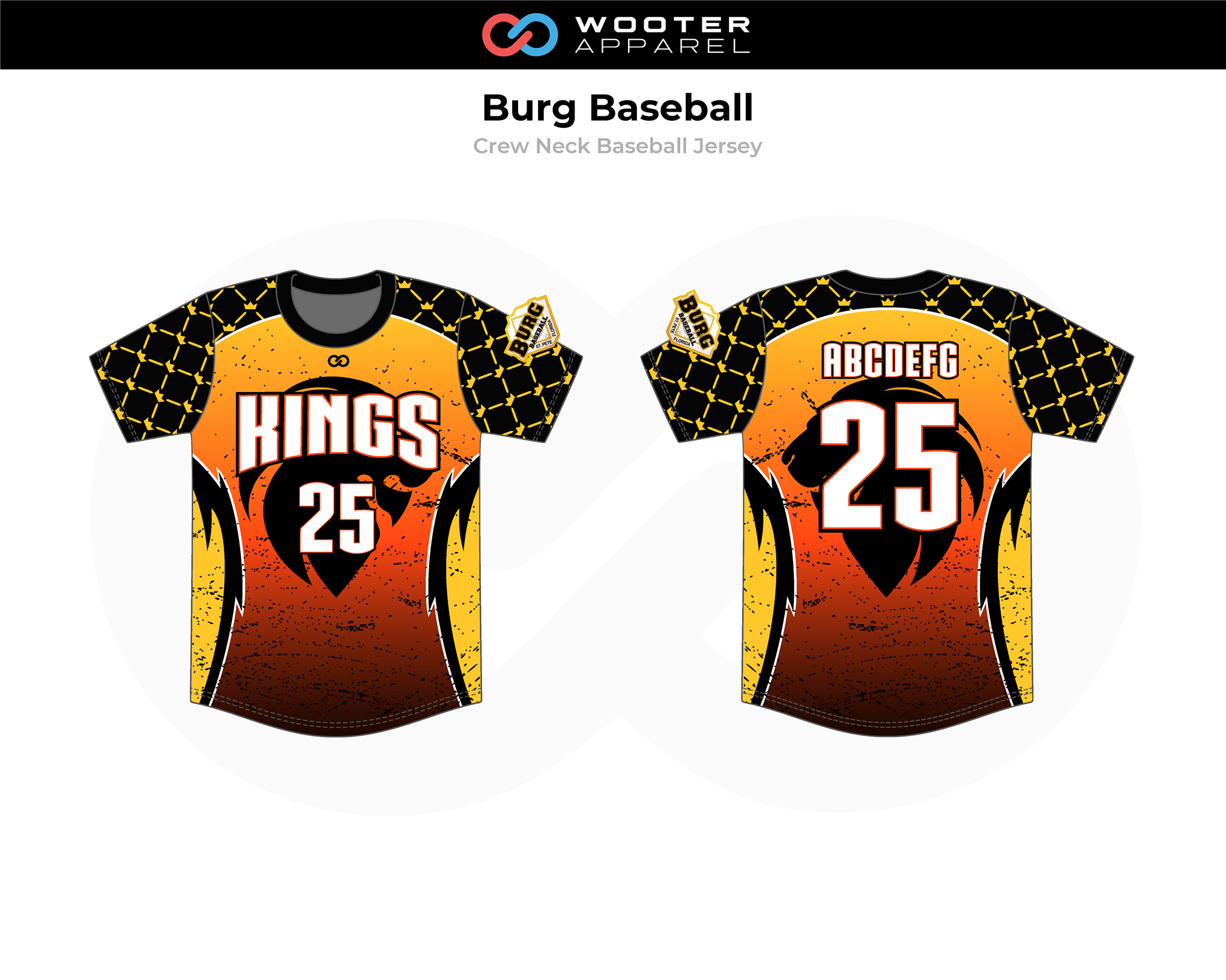 BURG Orange Yellow Black White Crew Neck Baseball Jersey