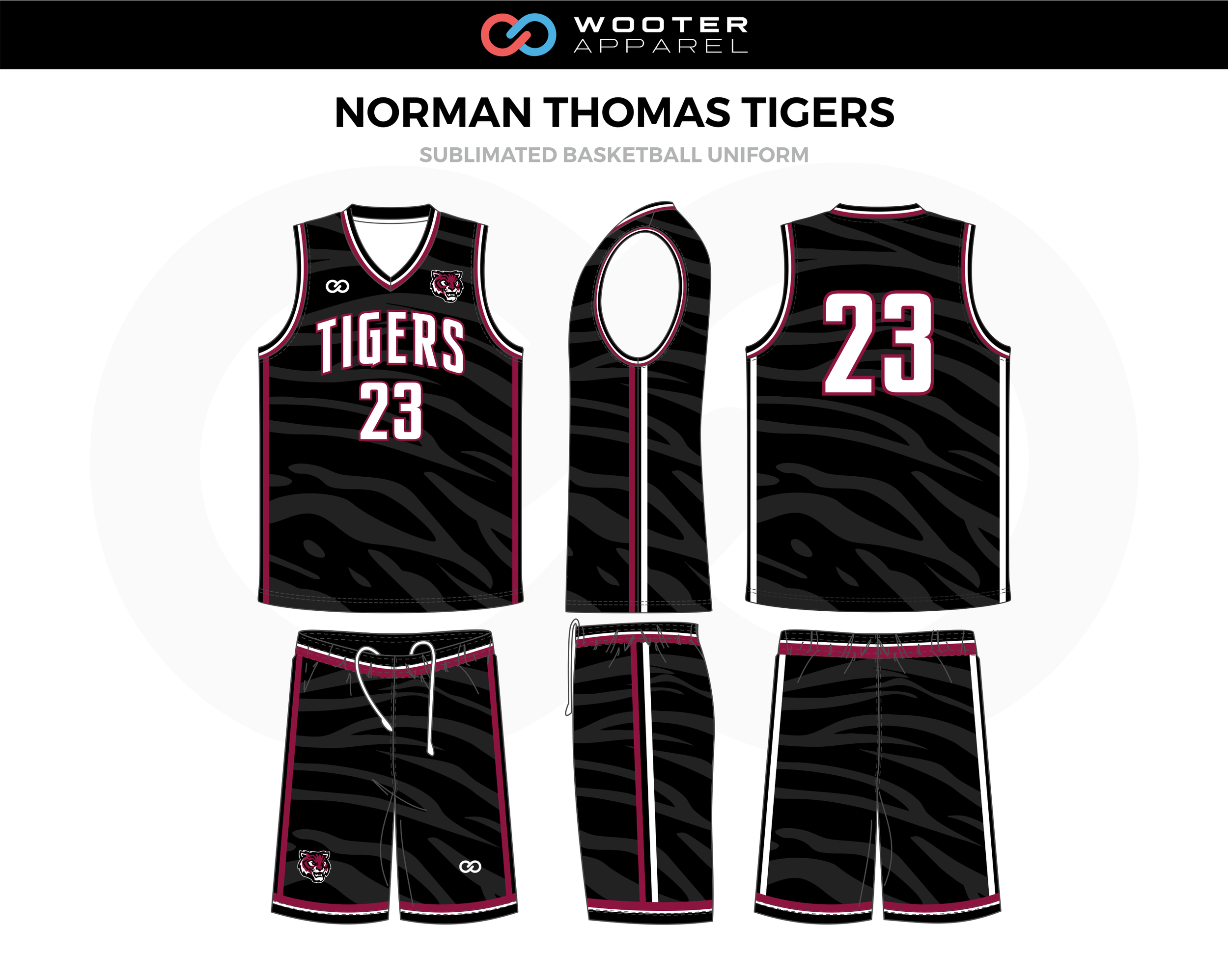 NORMAN THOMAS TIGERS Black White Pink Basketball Uniform, Jersey and Shorts