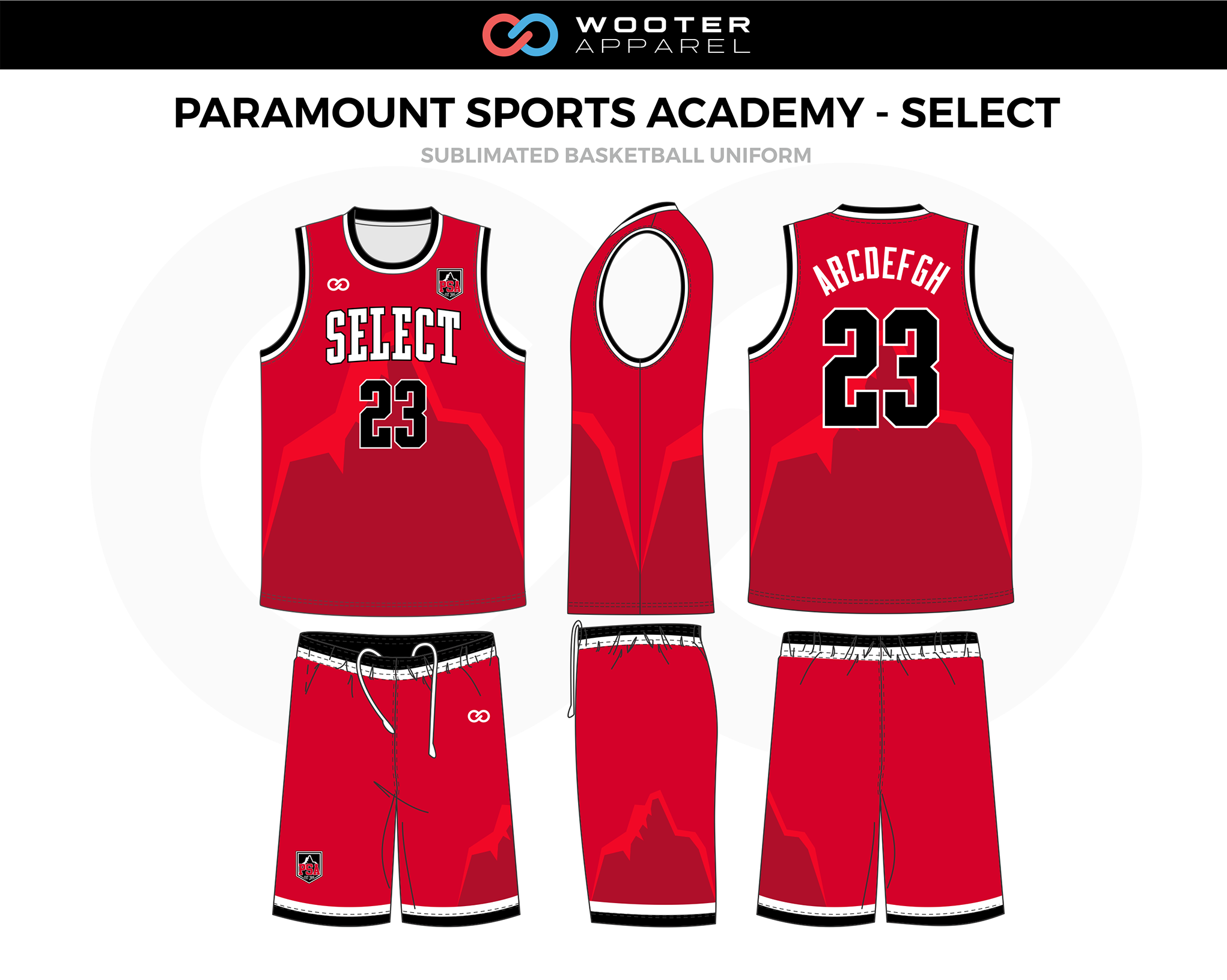 PARAMOUNT SPORTS ACADEMY-SELECT Red Black White Basketball Uniform, Jersey and Shorts