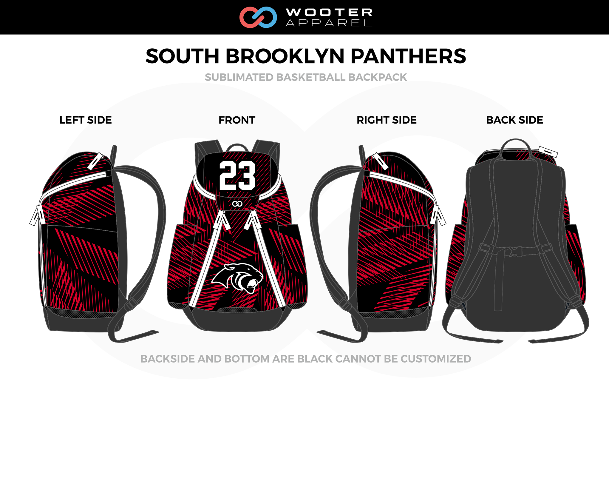 SOUTH BROOKLYN PANTHERS Red Black Gray White Basketball Backpack