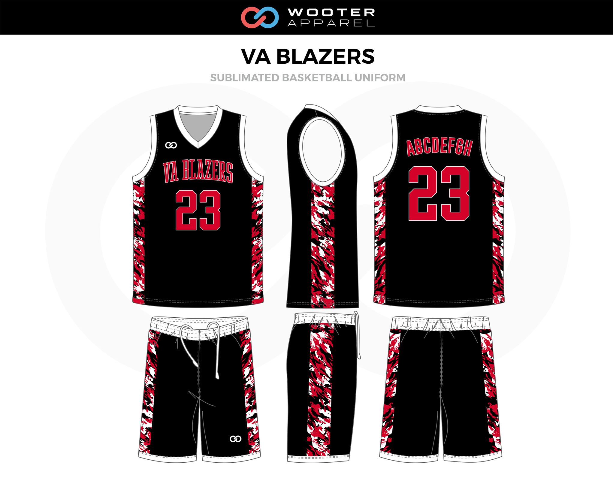 VA BLAZERS Black Red White Basketball Uniform, Jersey and Shorts