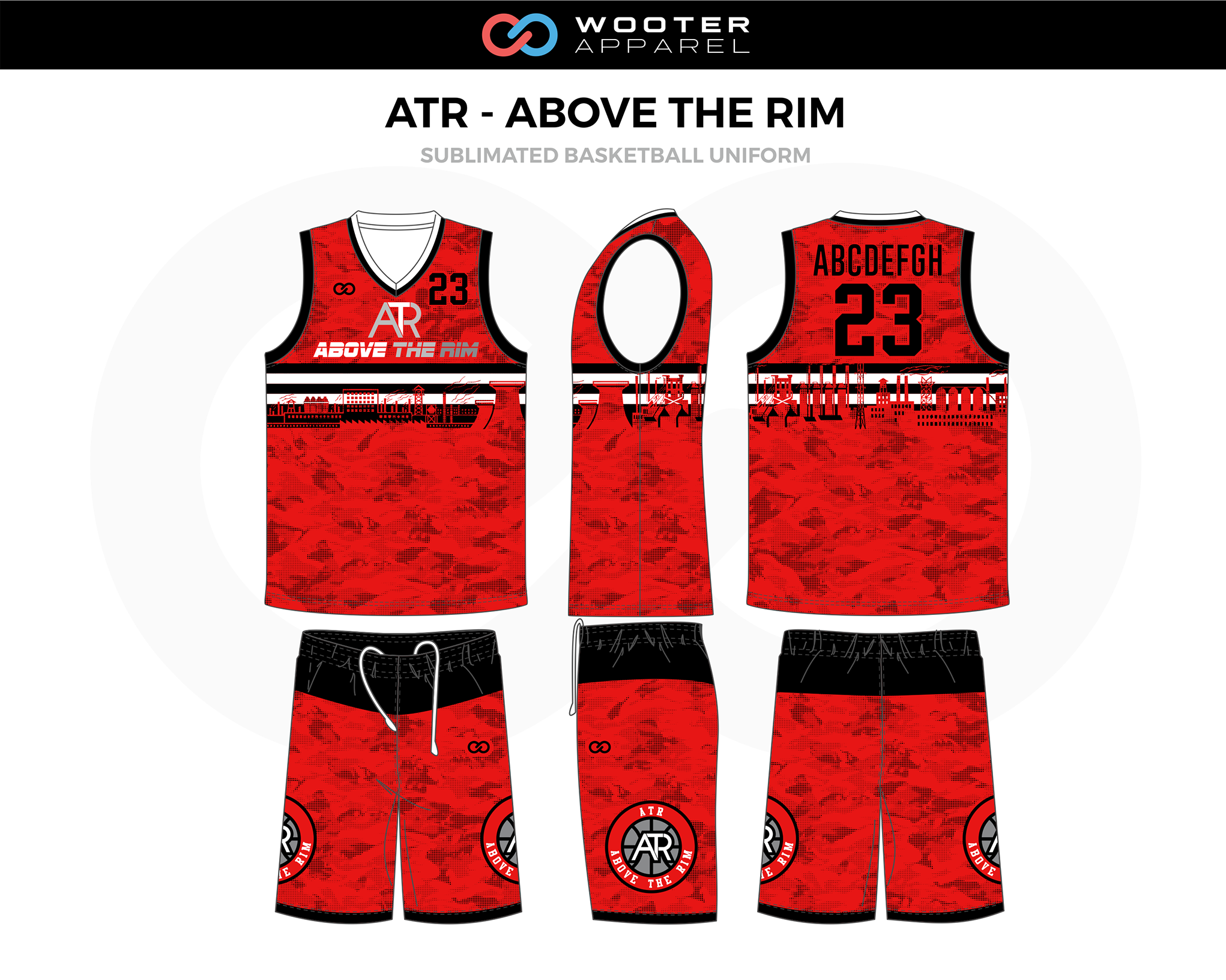 ATR- ABOVE THE RIM Red Black White Basketball Uniform, Jersey and Shorts