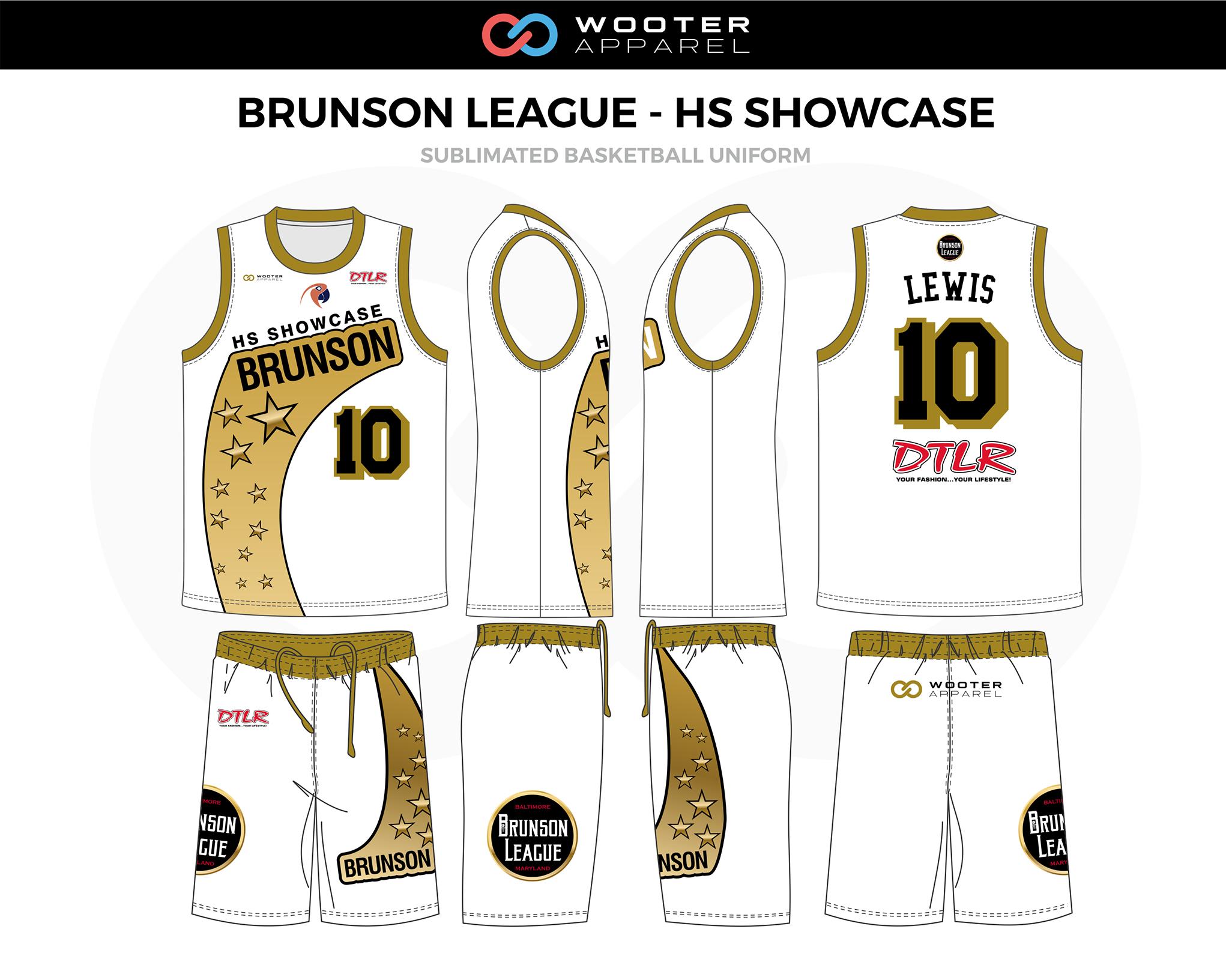 BRUNSON LEAGUE - HS SHOWCASE  White Black Beige Basketball Uniform, Jersey and Shorts