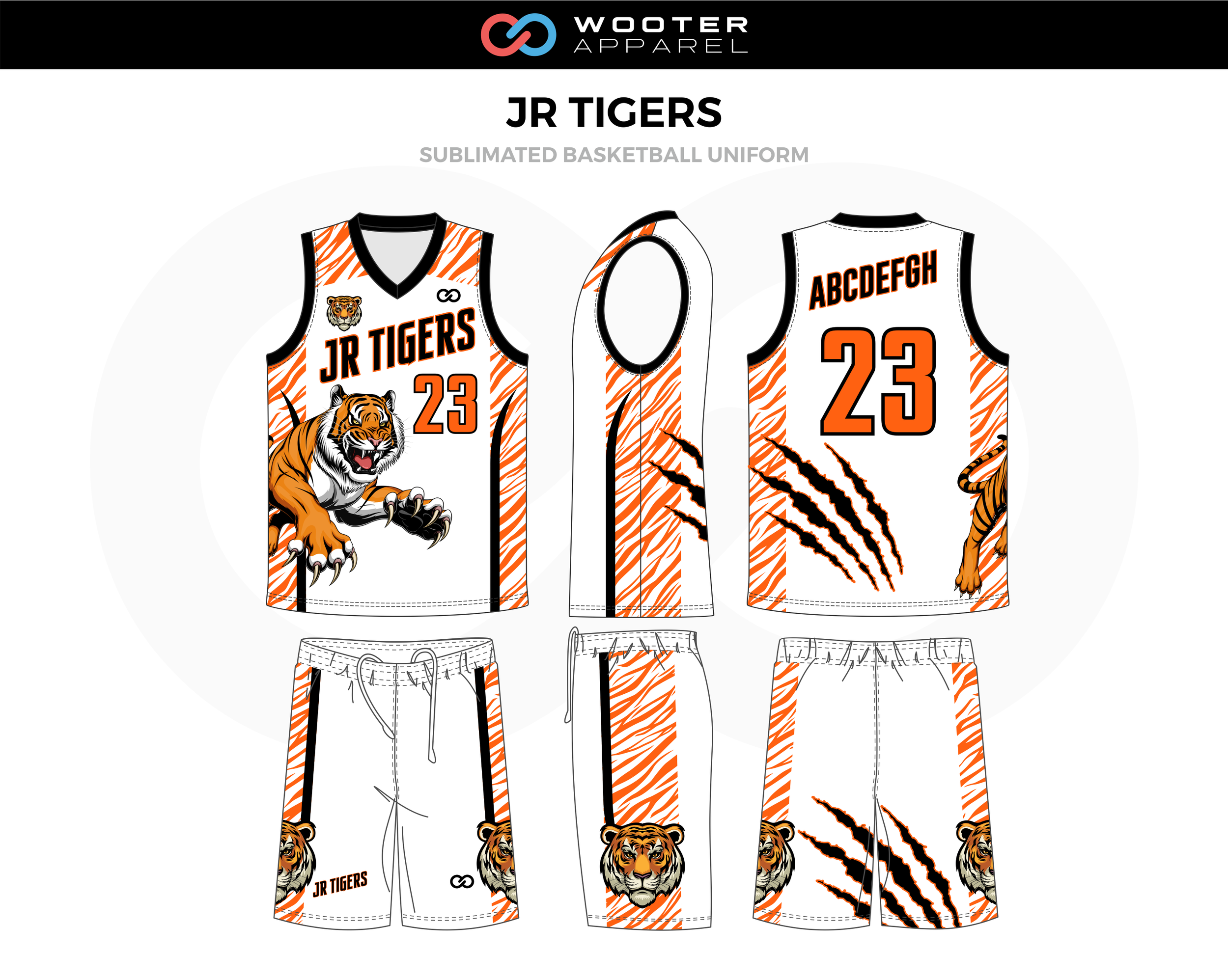 JR TIGERS Black Orange White Basketball Uniform, Jersey and Shorts