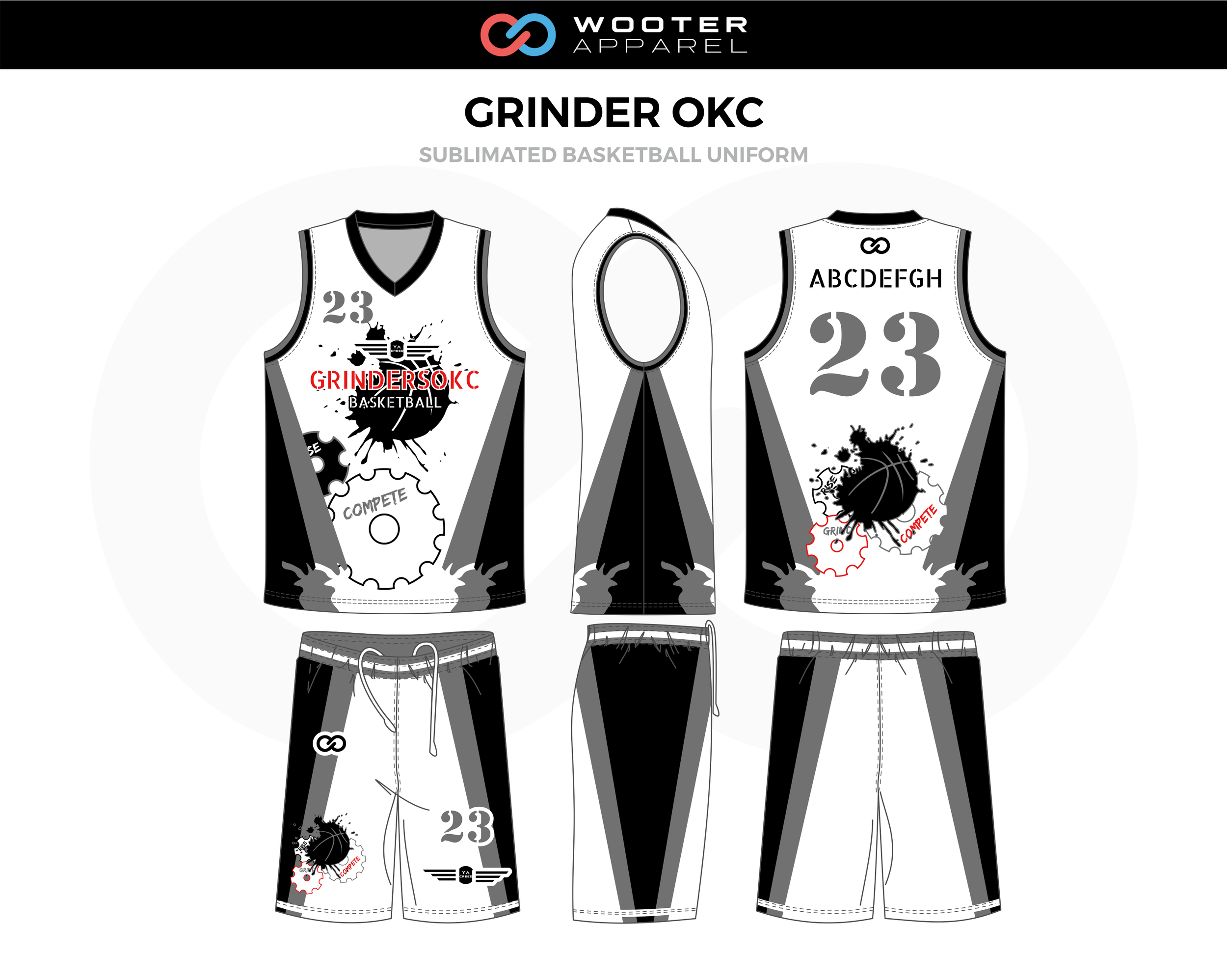 GRINDER OKC White Black Gray Basketball Uniform, Jersey and Shorts