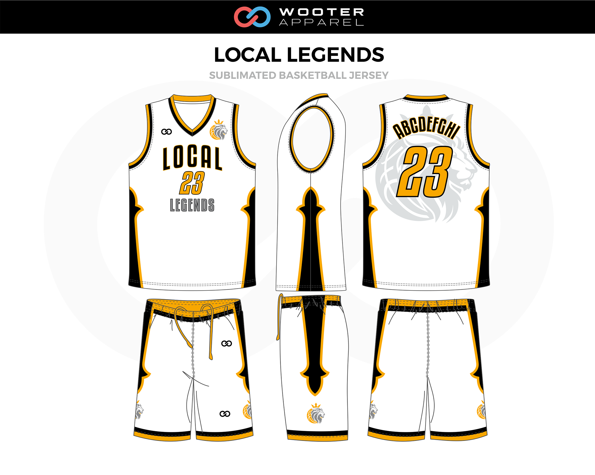 LOCAL LEGENDS White Black Yellow Basketball Uniform, Jersey and Shorts