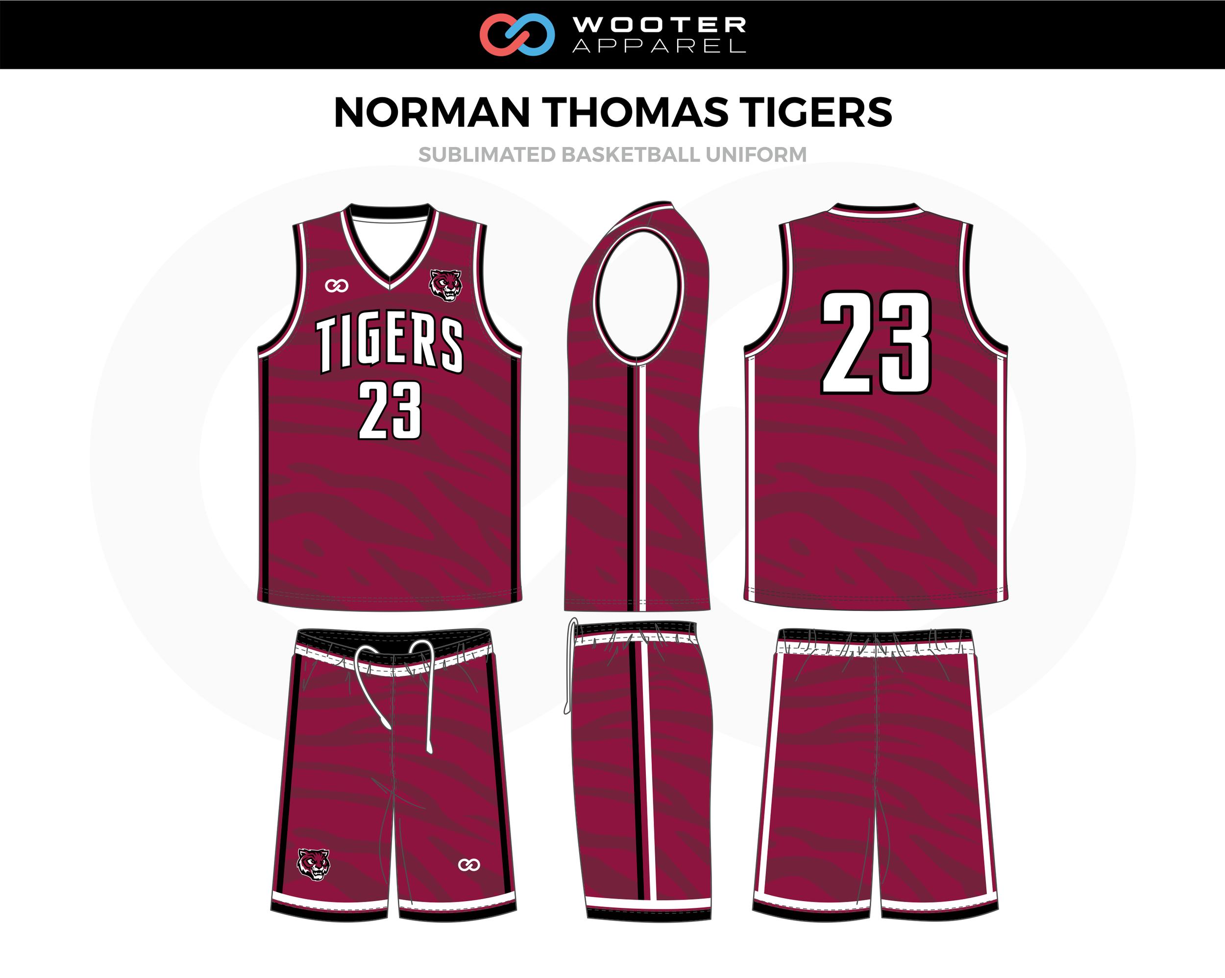 NORMAN THOMAS TIGERS Fuchsia Black White Basketball Uniform, Jersey and Shorts