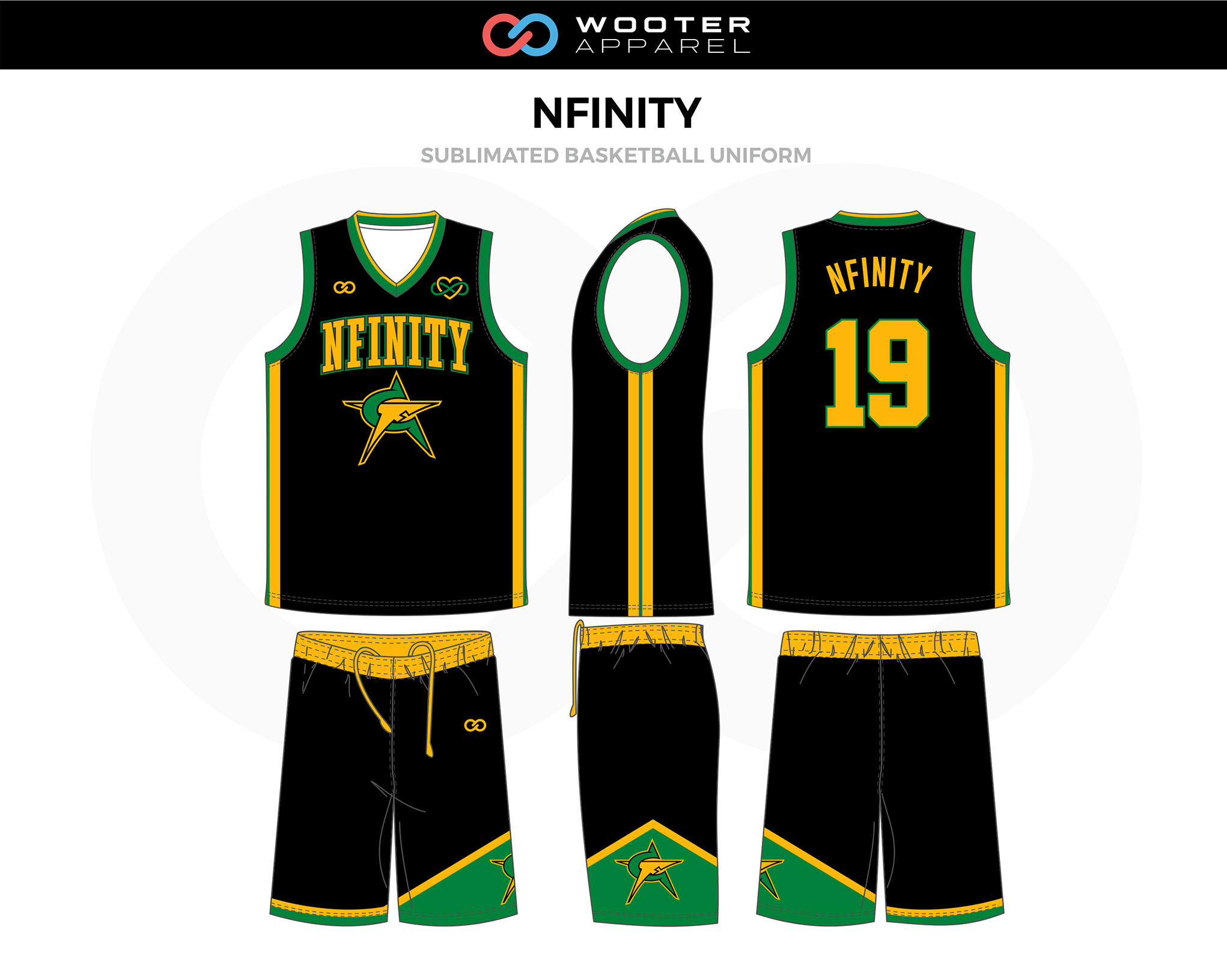 NFINITY Black Yellow Green Basketball Uniform, Jersey and Shorts