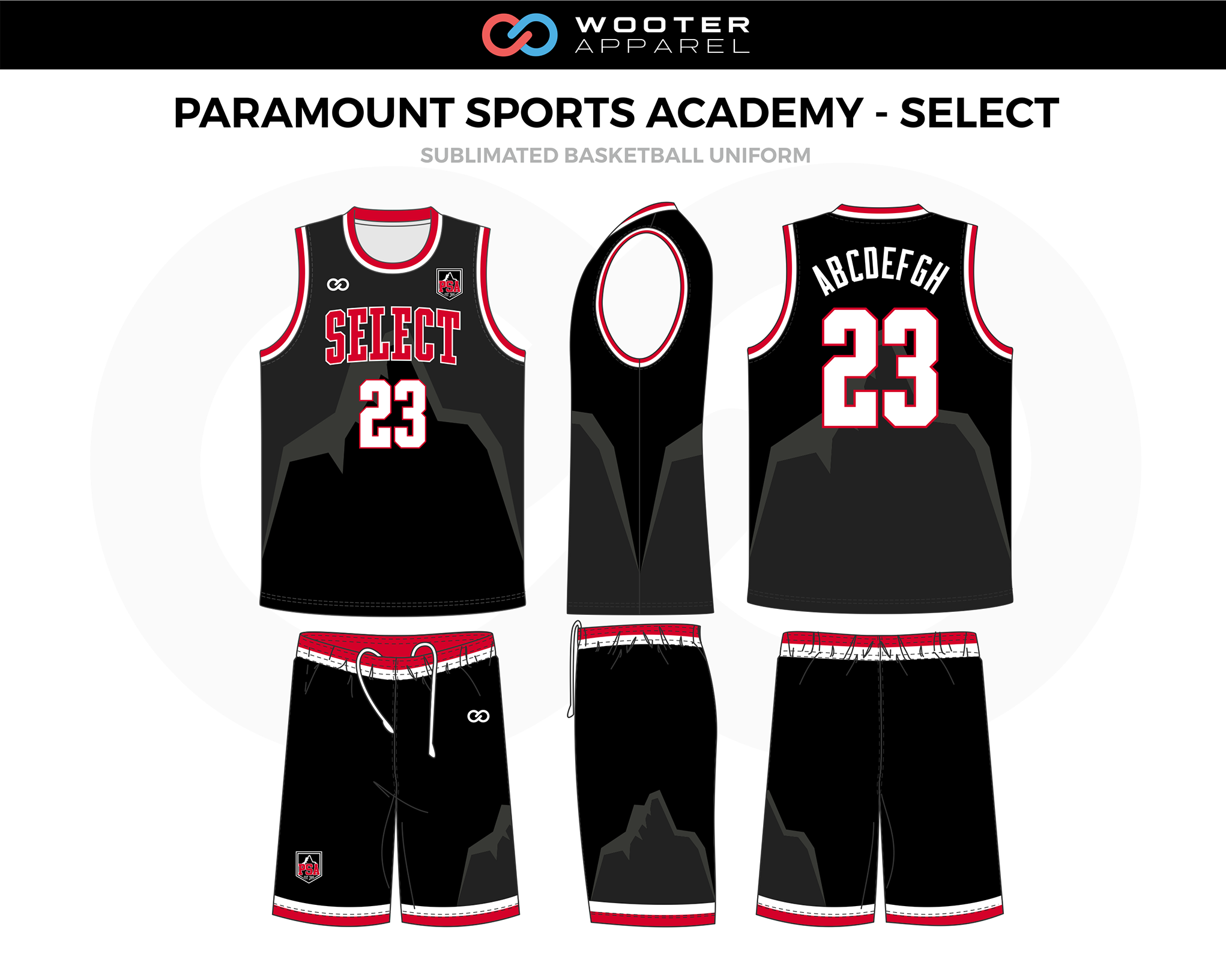 PARAMOUNT SPORTS ACADEMY- SELECT Black Red White Basketball Uniform, Jersey and Shorts