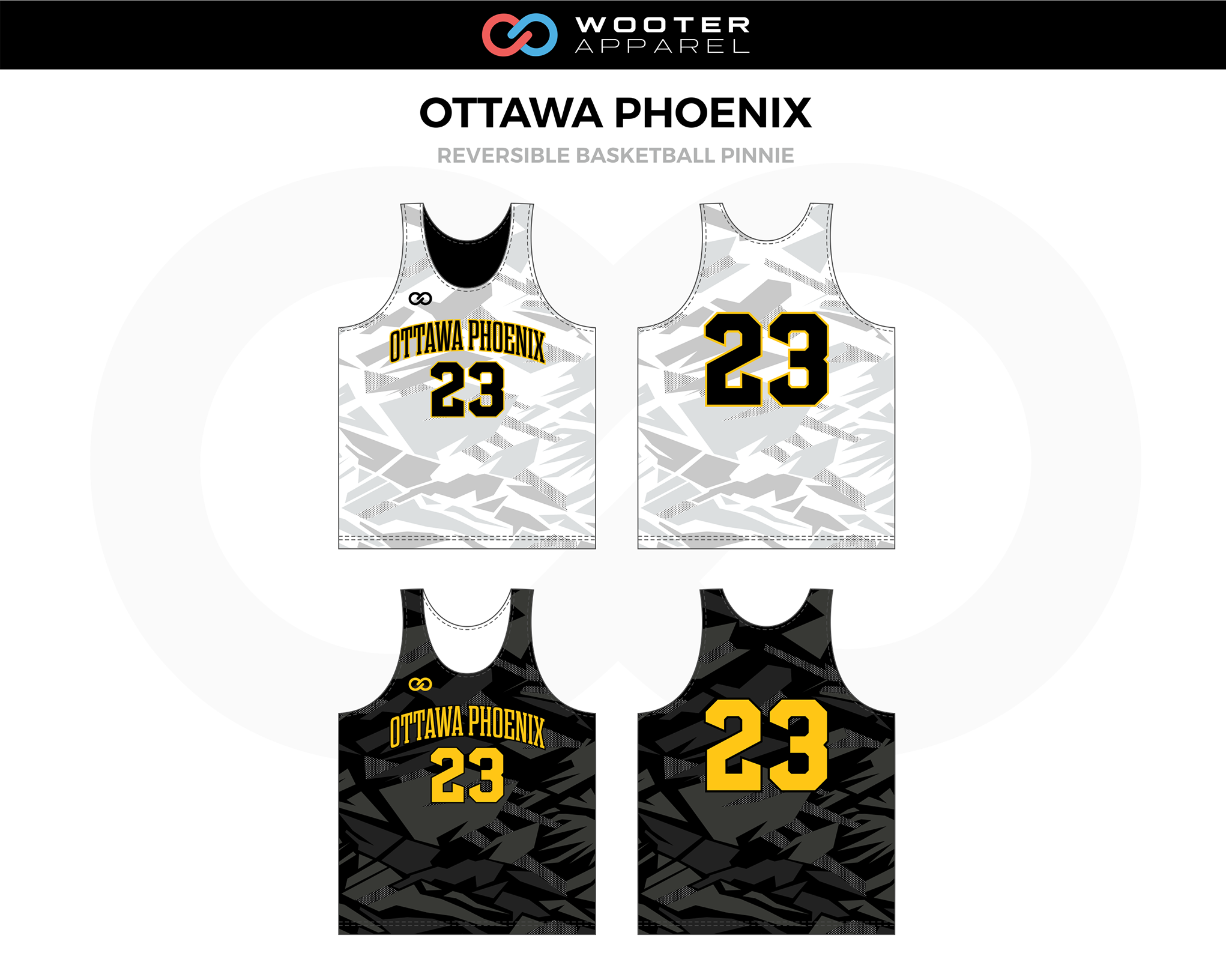 OTTAWA PHOENIX Black White Yellow Reversible Basketball Pinnie