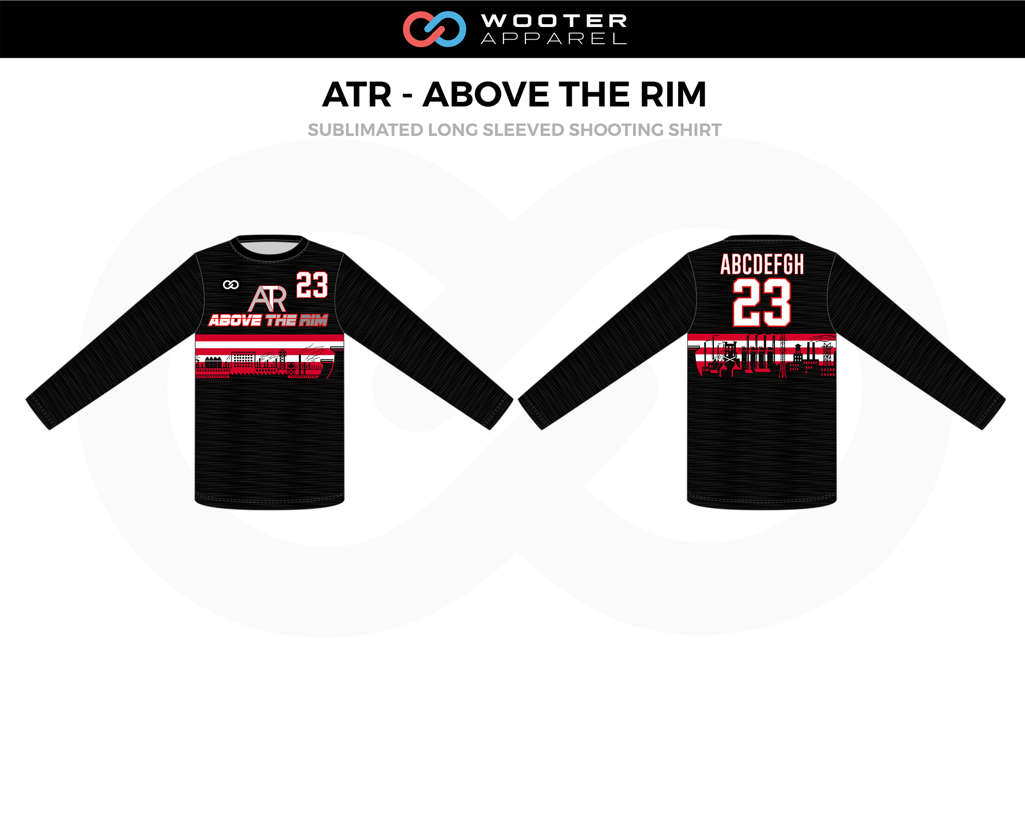 ATR-ABOVE THE RIM Black Red White Long Sleeved Shooting Shirt