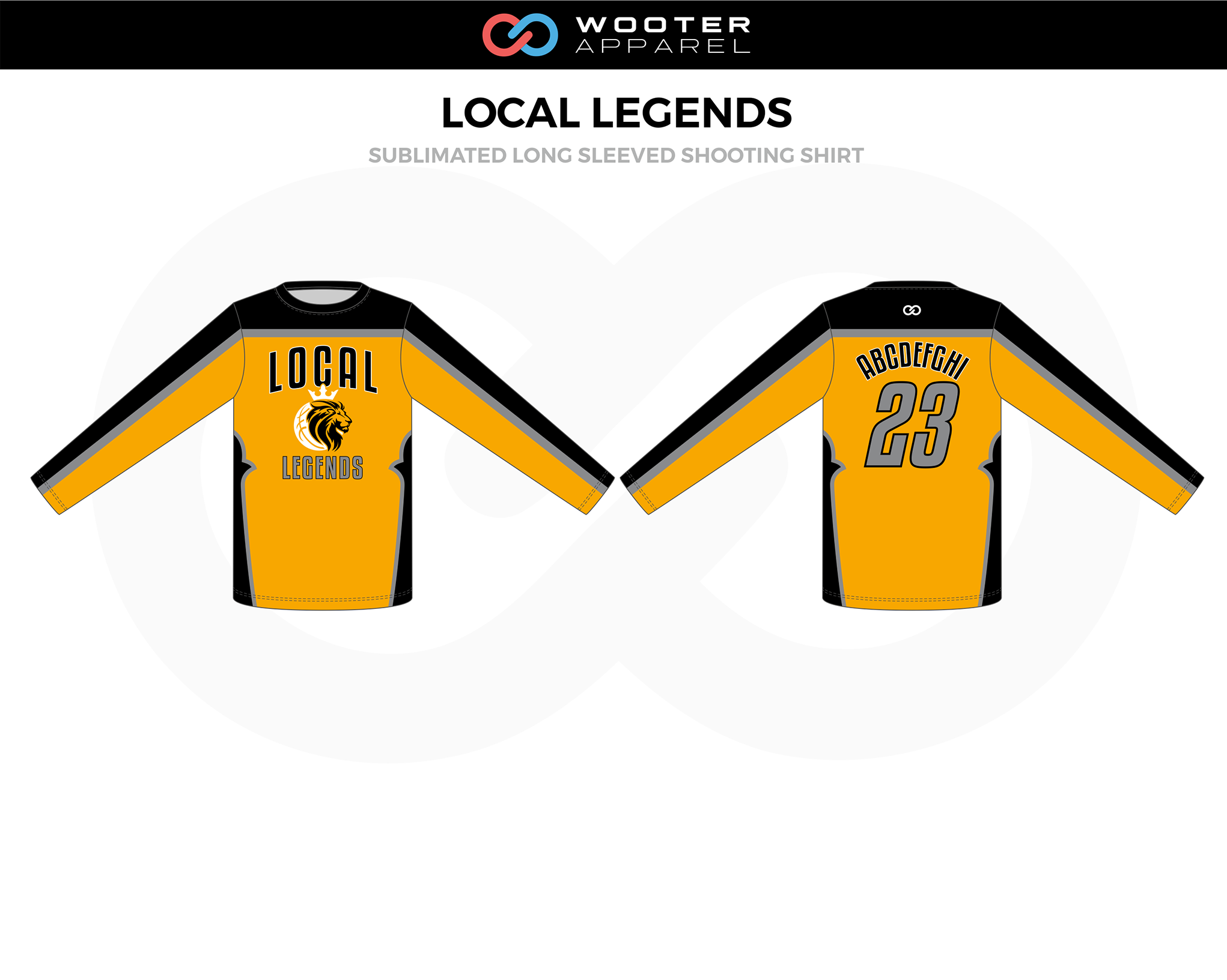 LOCAL LEGENDS Yellow Gray Black Long Sleeved Shooting Shirt