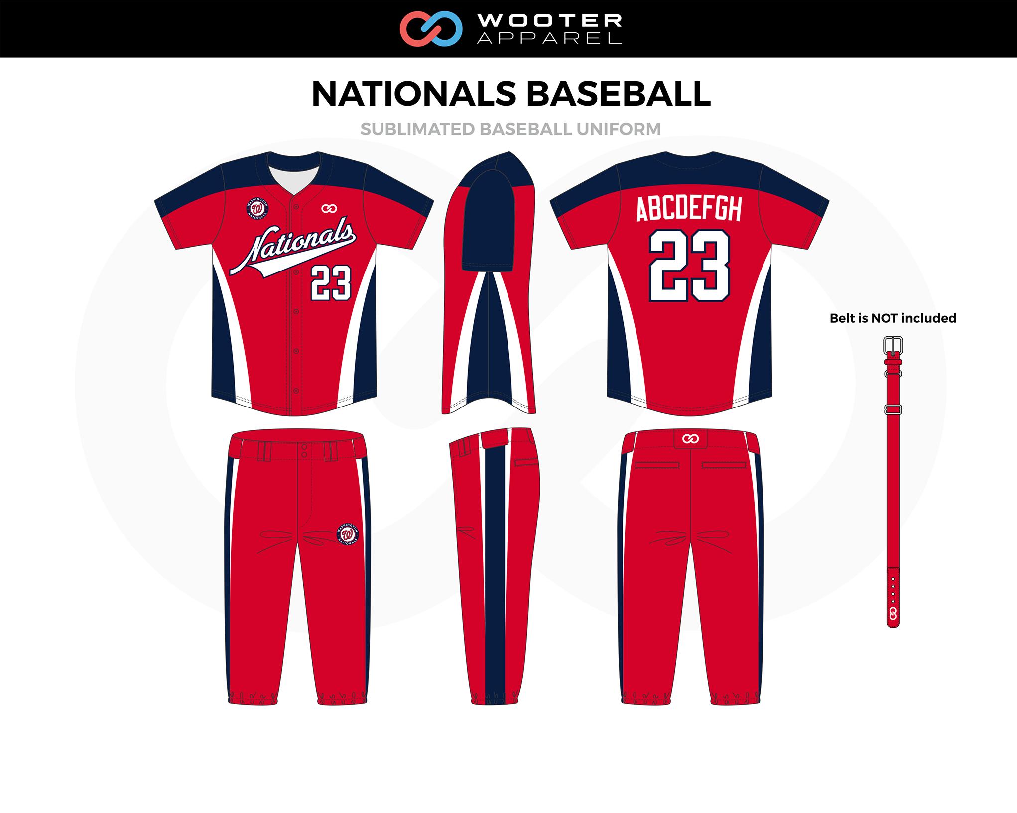 NATIONALS BASEBALL Red Navy Blue White Baseball Uniform, Jersey Shirt, Pants