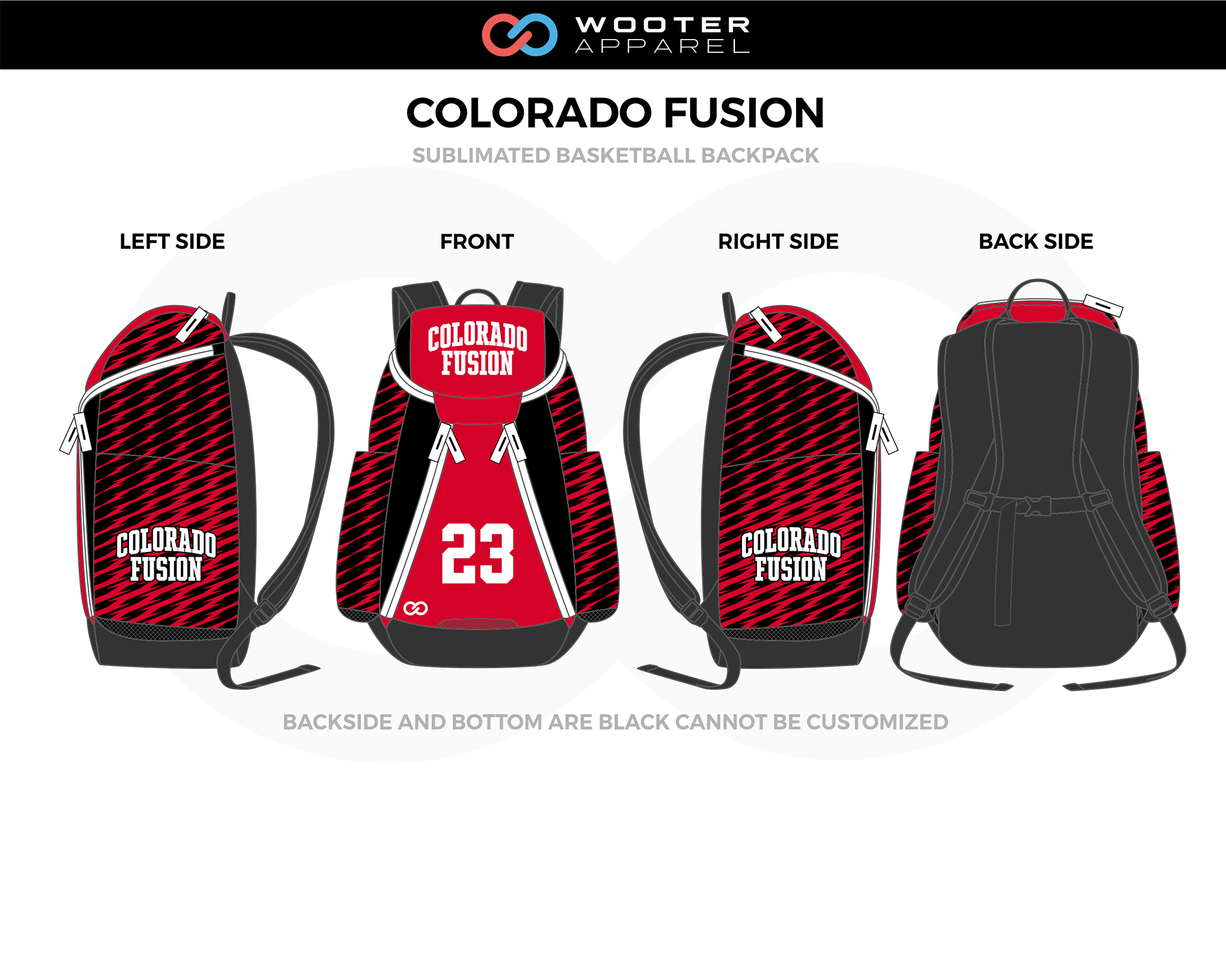 COLORADO FUSION Red Black White Basketball Backpack