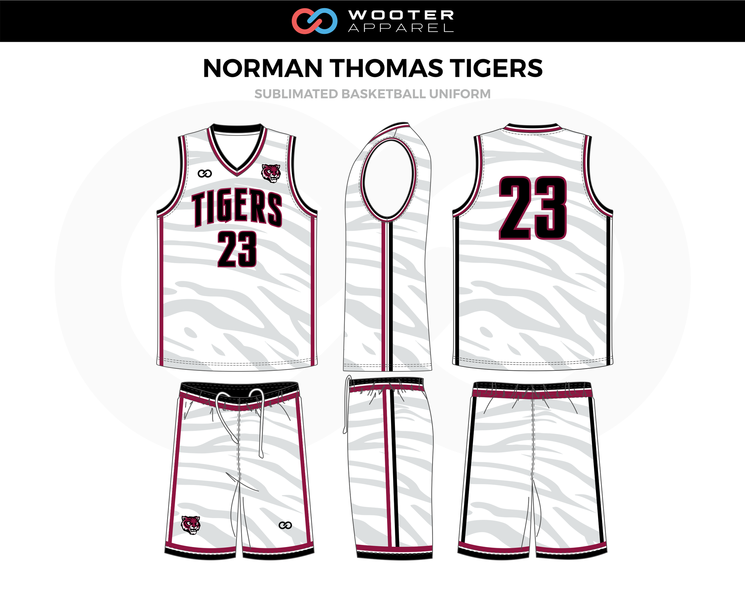 NORMAN THOMAS TIGERS White Red Black Basketball Uniform, Jersey and Shorts