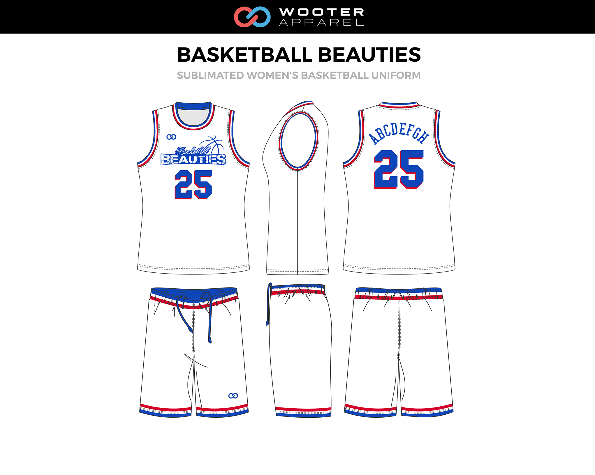 BASKETBALL BEAUTIES Blue Red White Women's Basketball Uniform, Jersey and Shorts