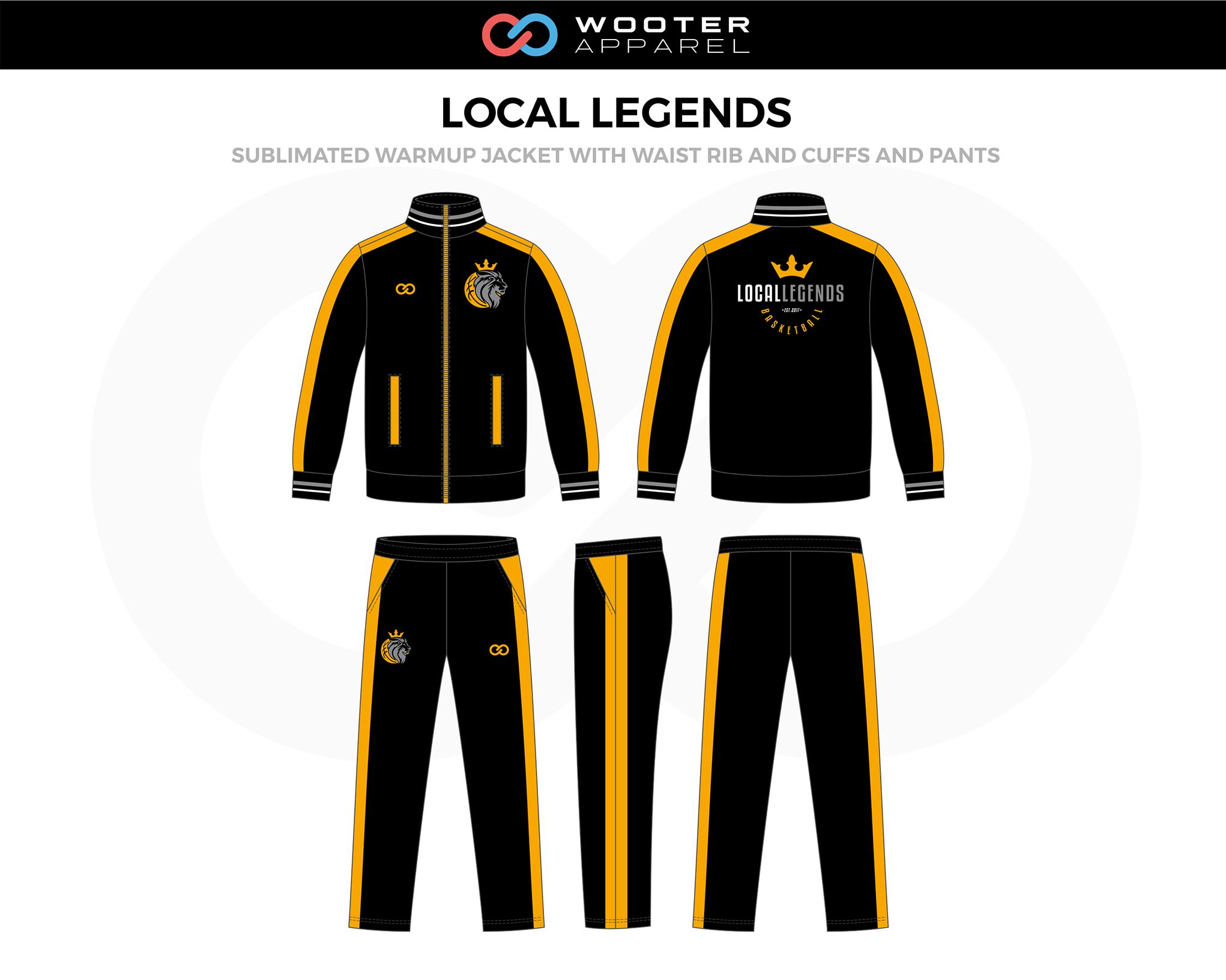LOCAL LEGENDS Black Orange Basketball Warm-Up Jacket, and Pants