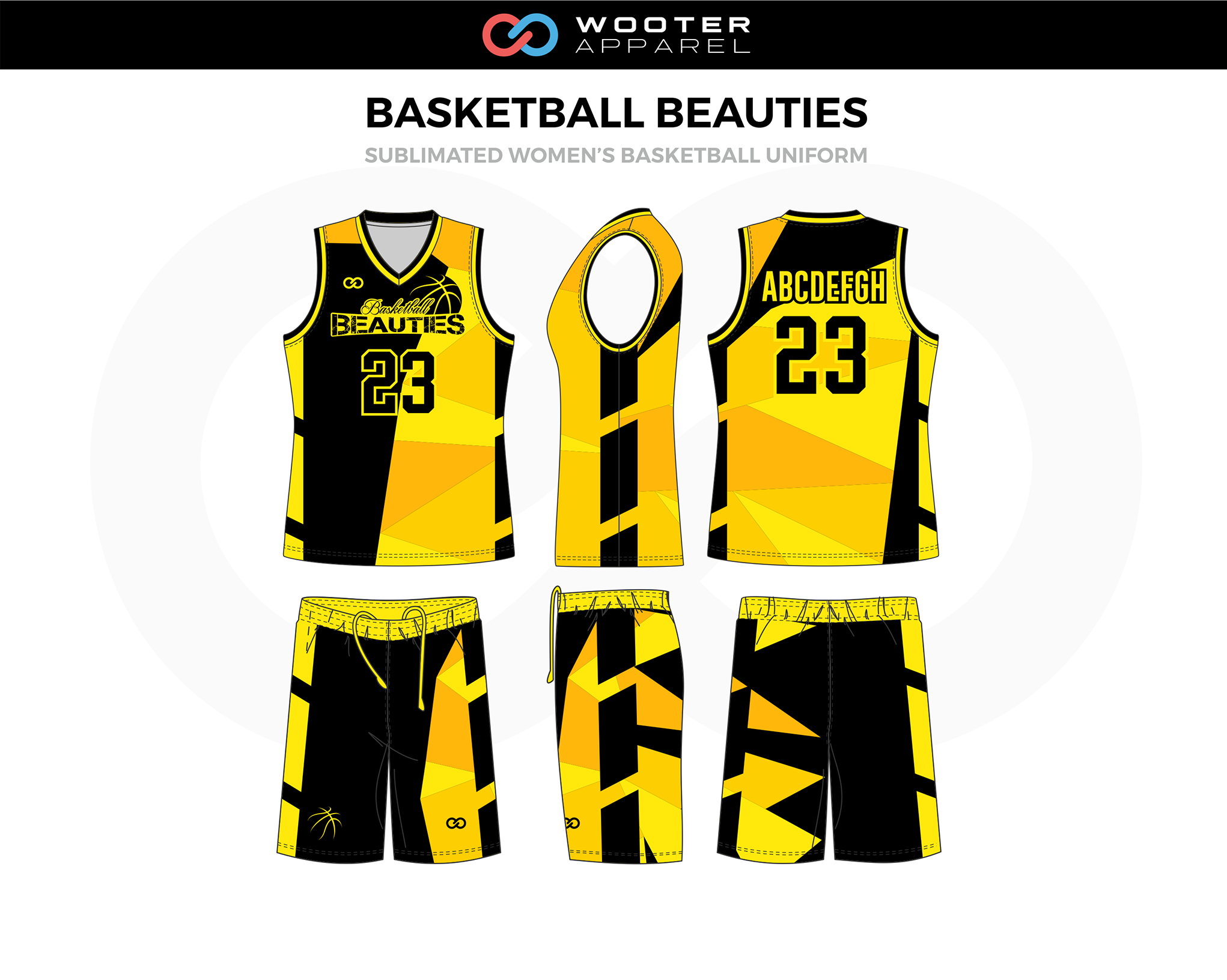 BASKETBALL BEAUTIES Black Yellow Women's Basketball Uniform, Jersey and Shorts