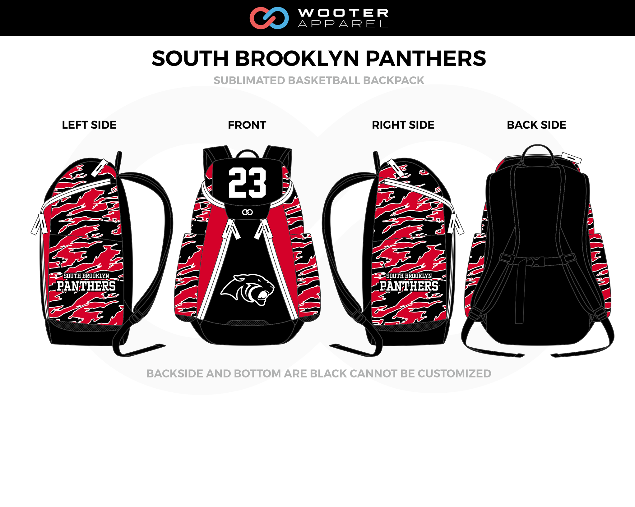 SOUTH BROOKLYN PANTHERS Red Black White Basketball Backpack