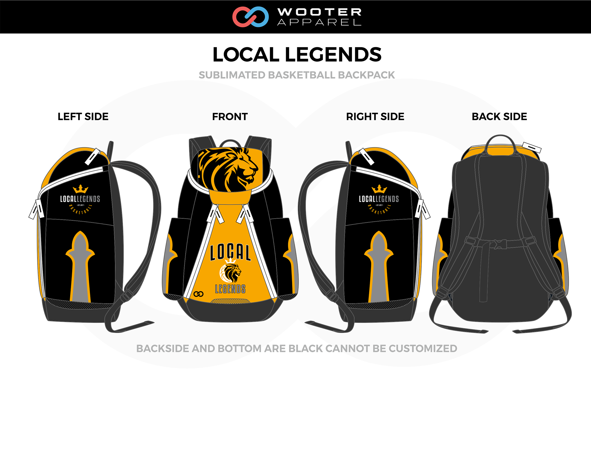 LOCAL LEGENDS Yellow Black Gray White Basketball Backpack