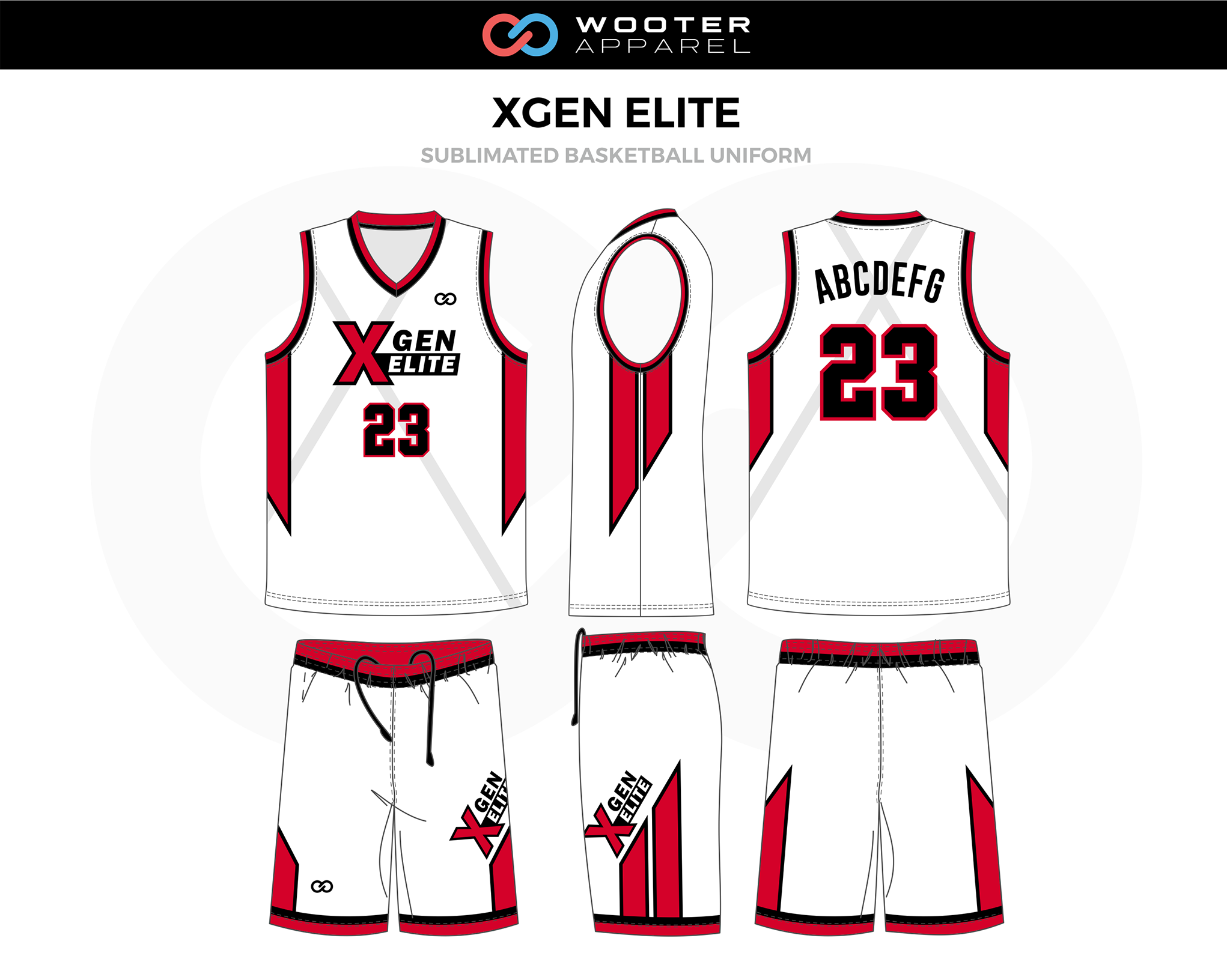 XGEN ELITE Red Black White Basketball Uniform, Jersey and Shorts