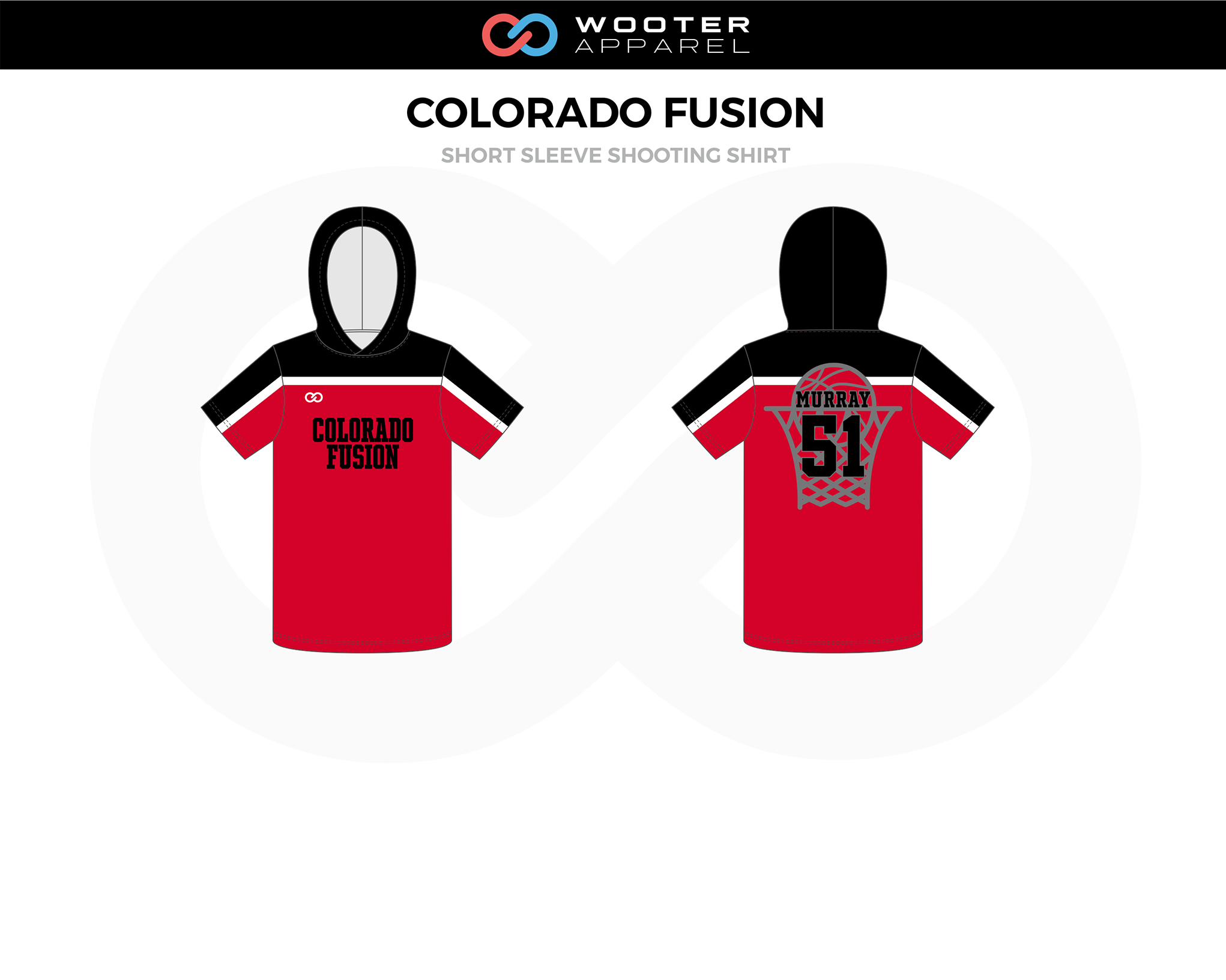 COLORADO FUSION Red Black White Basketball Short Sleeved Shooting Shirt