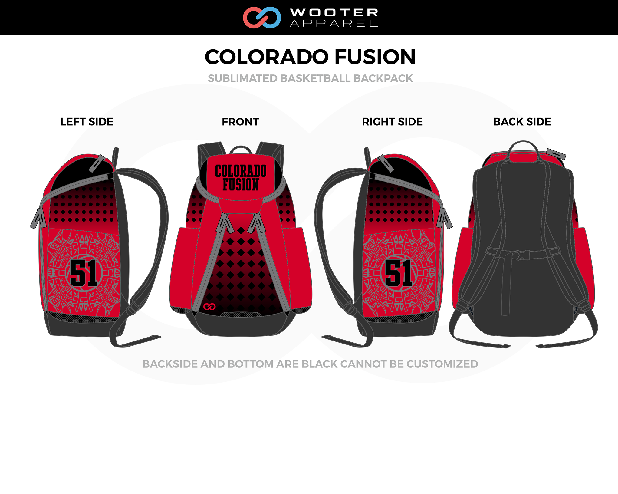 COLORADO FUSION Red Black Gray Basketball Backpack