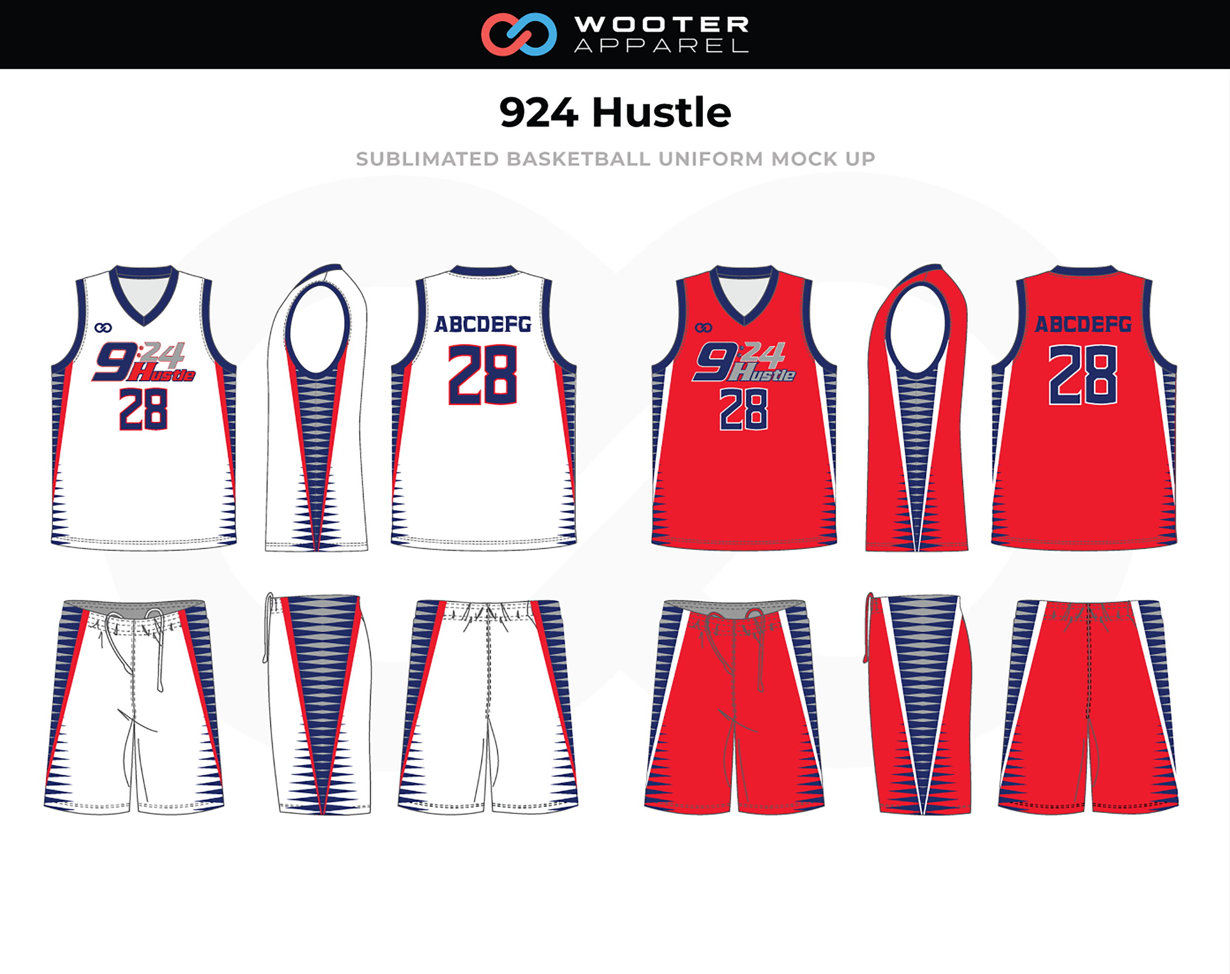 924 HUSTLE Red White Blue Basketball Uniform, Jersey and Shorts