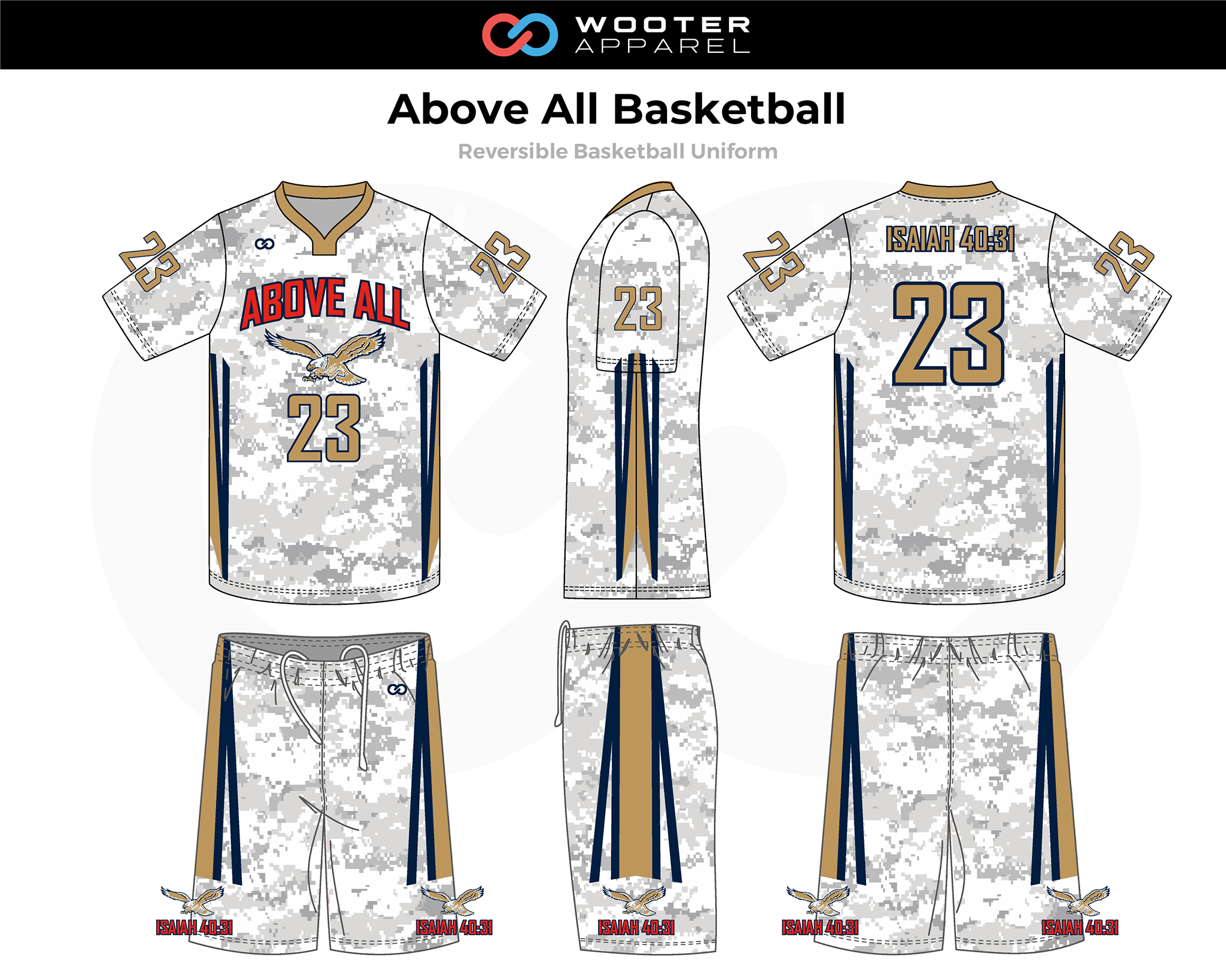ABOVE ALL White Blue Beige Red Reversible Basketball Uniform, Jersey and Shorts