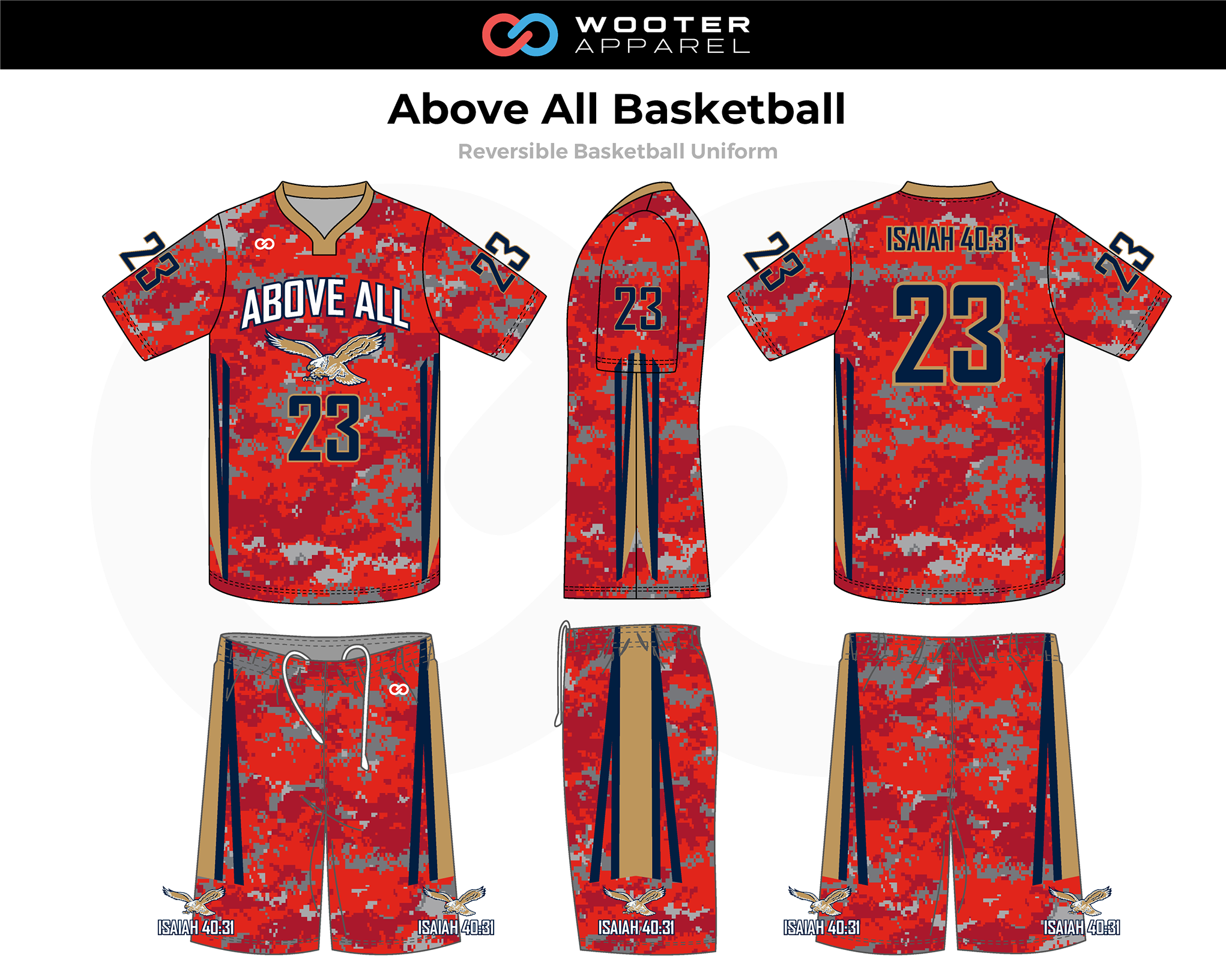 ABOVE ALL Red Blue Beige White Reversible Basketball Uniform, Jersey and Shorts