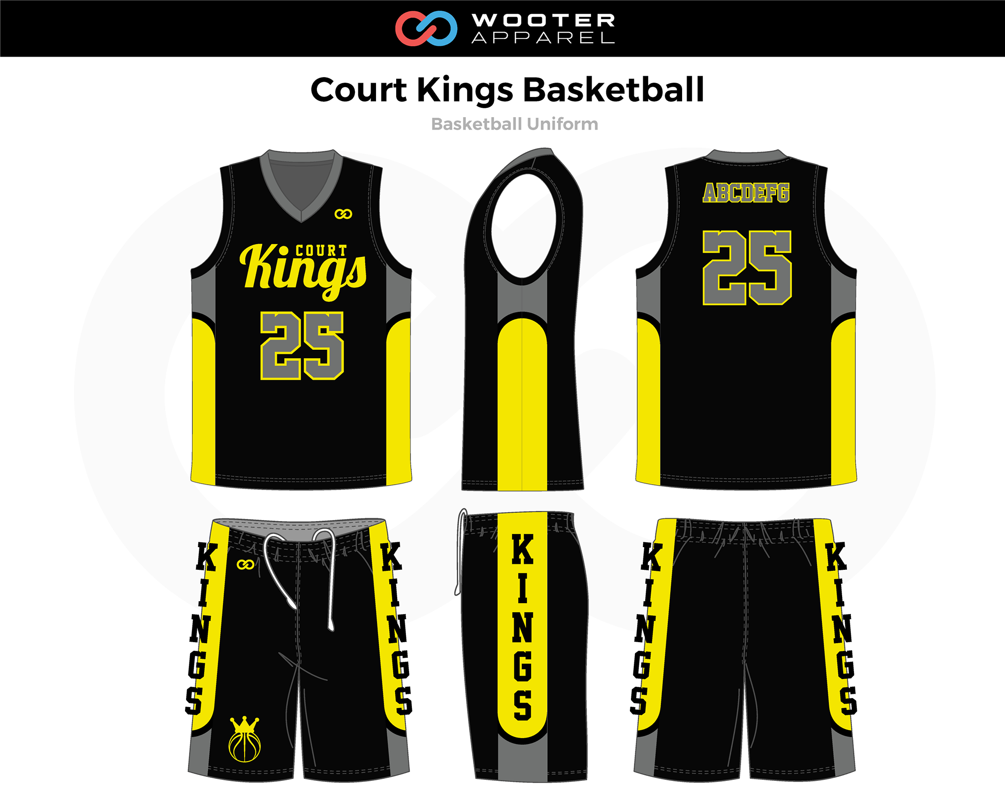 COURT KINGS Black Yellow Gray Basketball Uniform, Jersey and Shorts