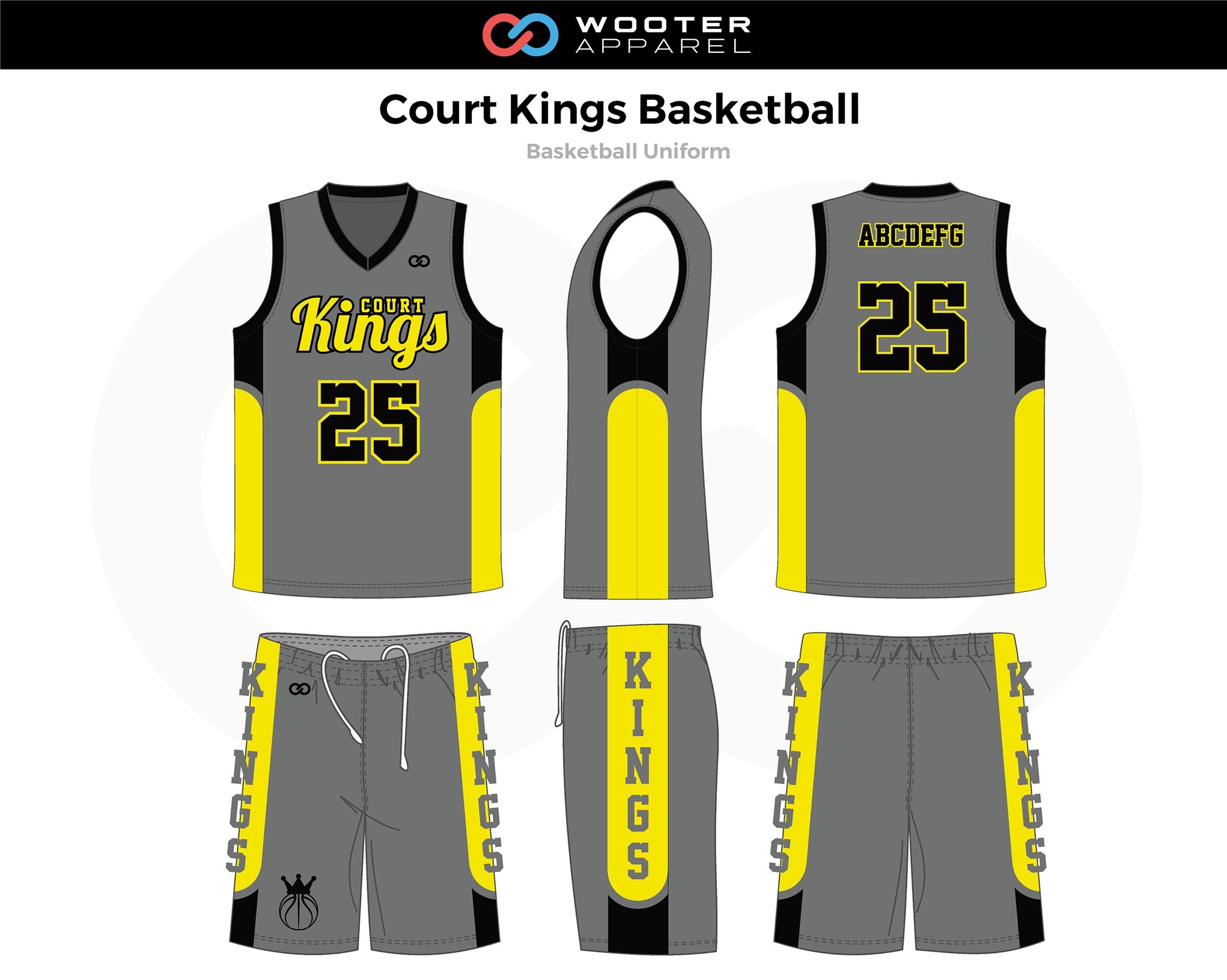 COURT KINGS Gray Yellow Black Basketball Uniform, Jersey and Shorts
