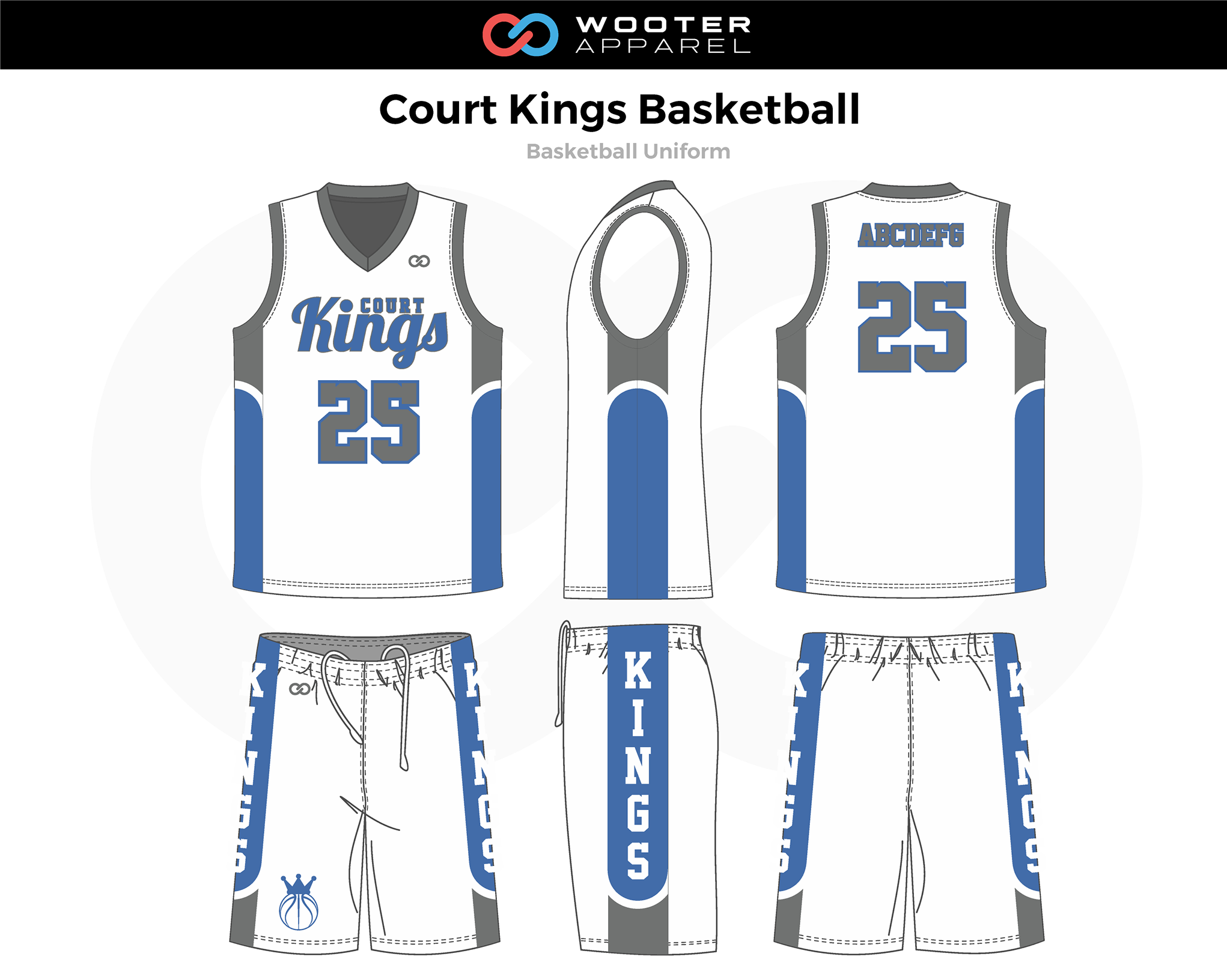 COURT KINGS White Blue Gray Basketball Uniform, Jersey and Shorts