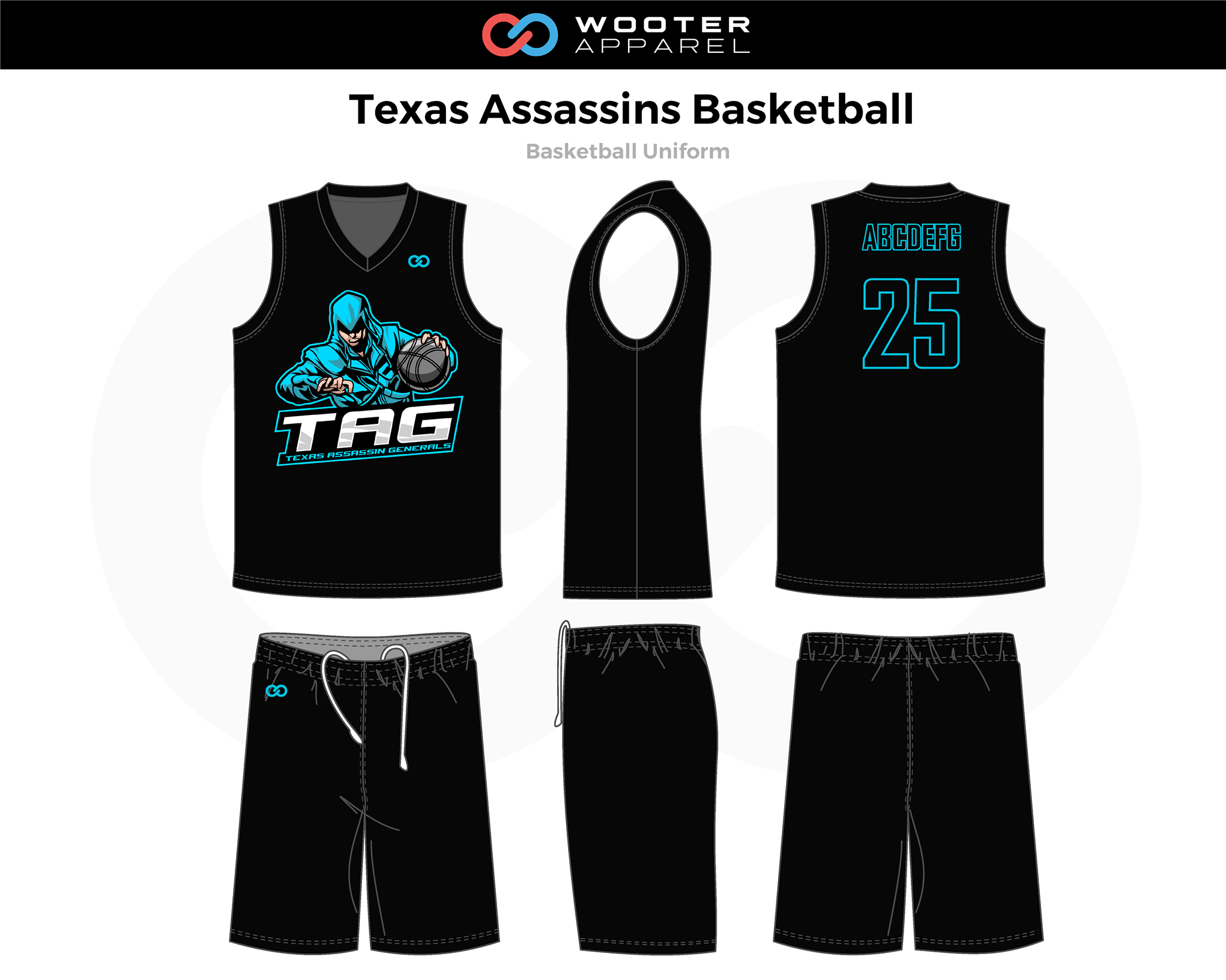 TEXAS ASSASSINS Black Blue White Basketball Uniform, Jersey and Shorts