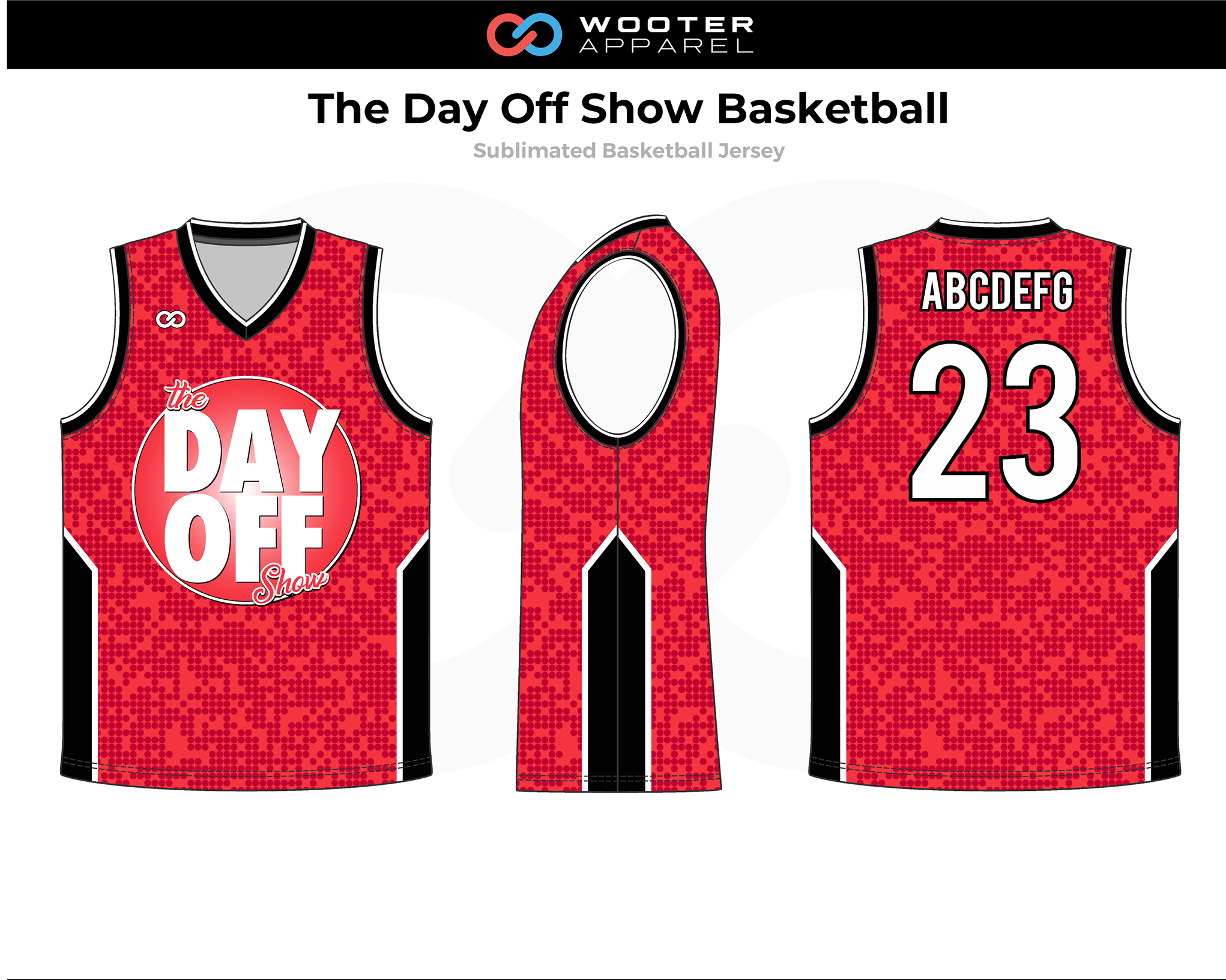 THE DAY OFF SHOW Red Black White Basketball Uniform Jersey