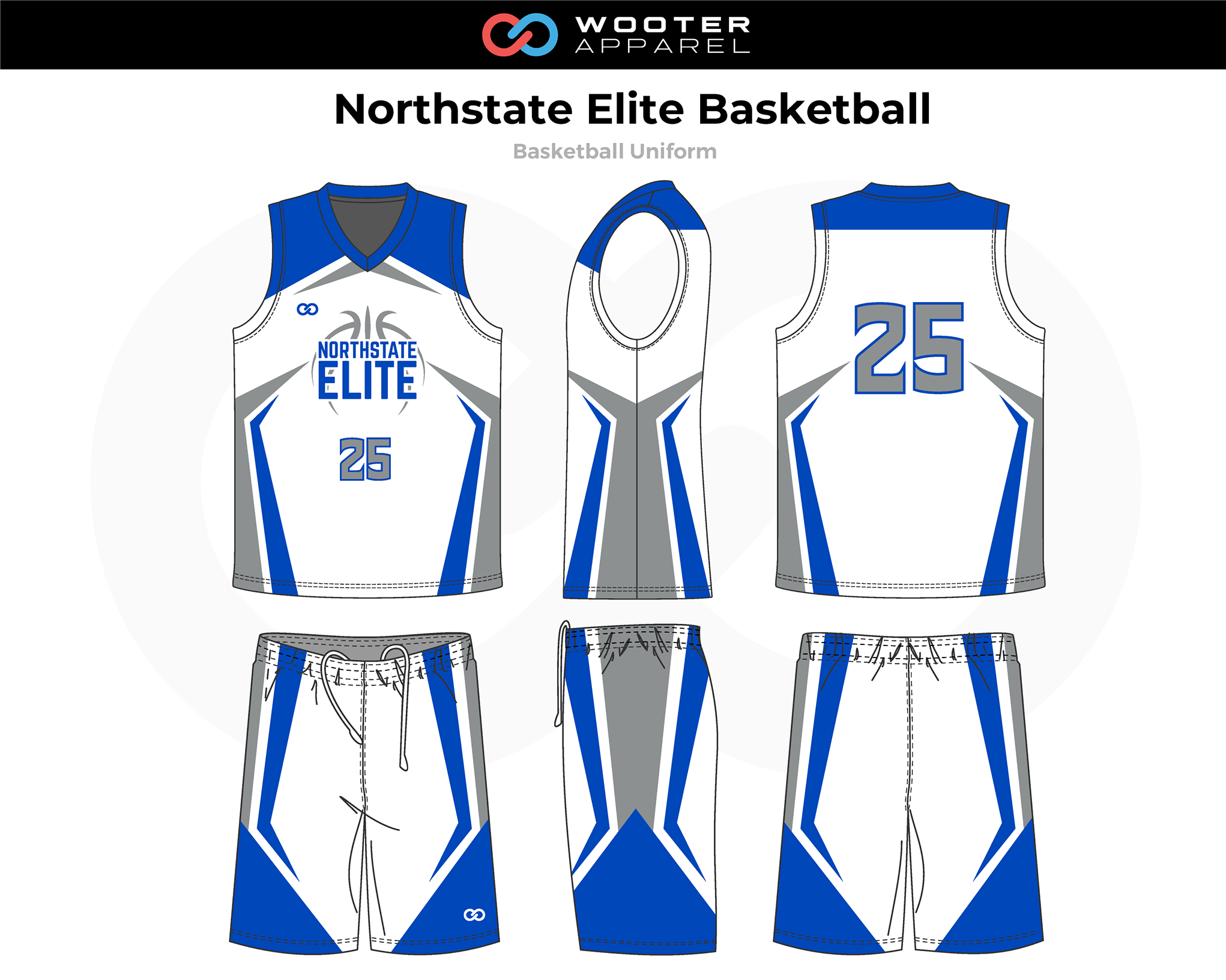 NORTHSTATE ELITE White Blue Gray Basketball Uniform, Jersey and Shorts